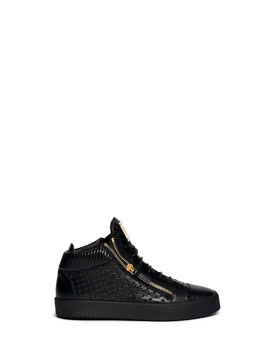 giuseppe zanotti may leather mid top sneakers in