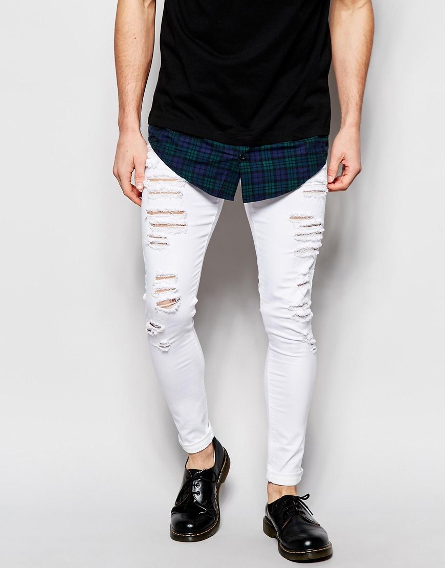 Lyst Asos Extreme Super Skinny Jeans With Mega Rips In