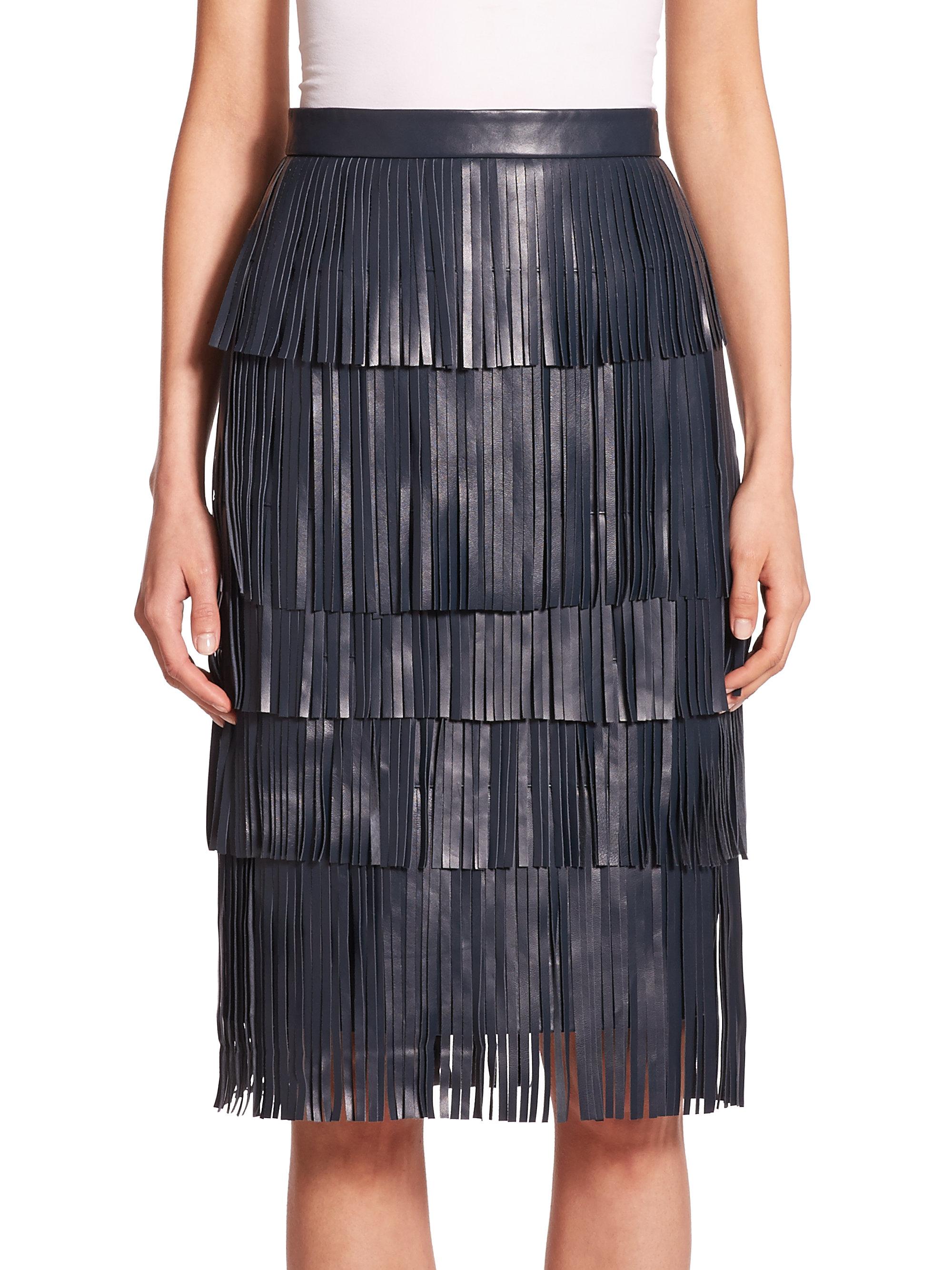 zac zac posen willow leather fringe pencil skirt in blue