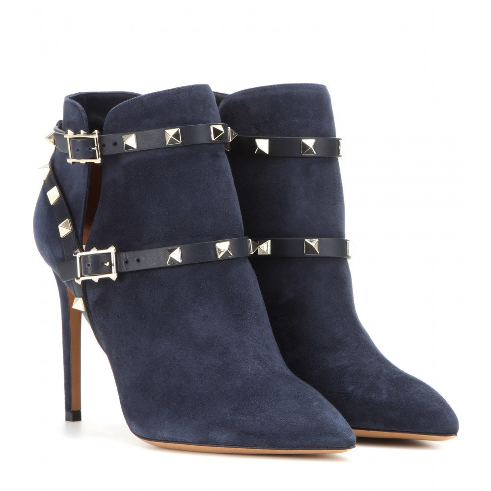 Valentino Rockstud Suede Ankle Boots In Blue - Lyst-6470