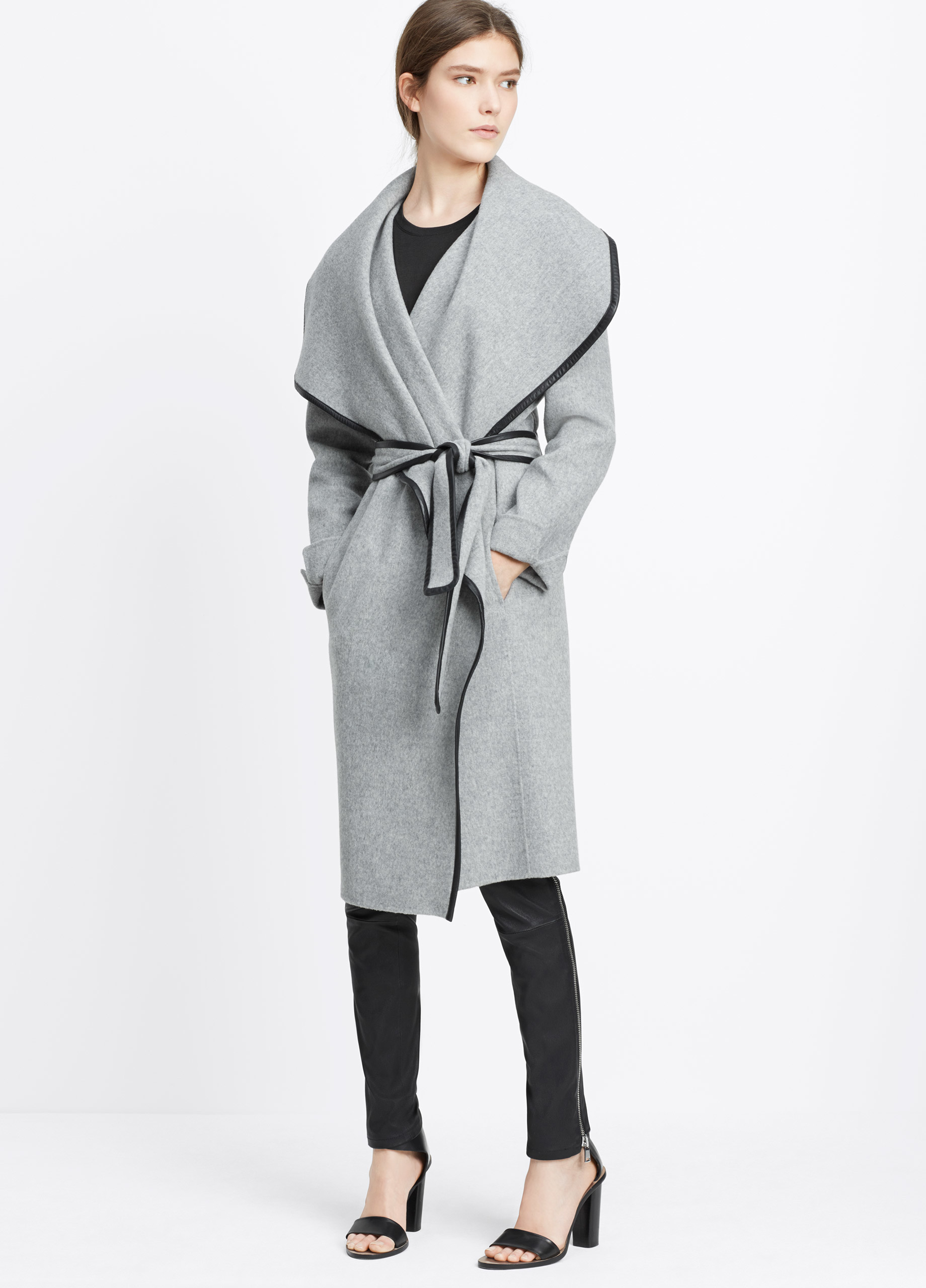 Vince Drape Front Belted Coat With Leather Trim In Gray