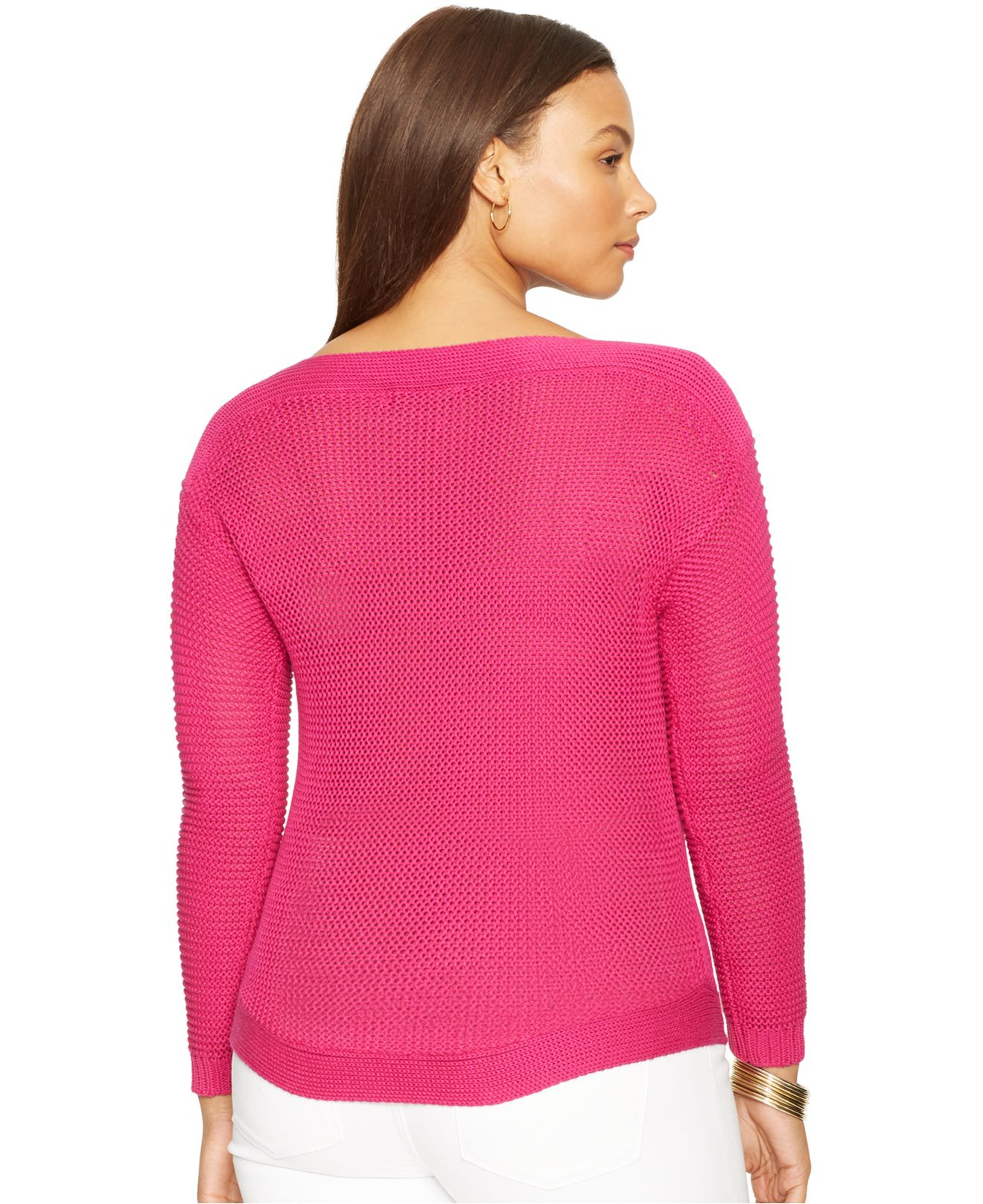 bb84f01bf64 ... new zealand lyst lauren by ralph lauren plus size boat neck sweater in  pink 4be68 5fafc