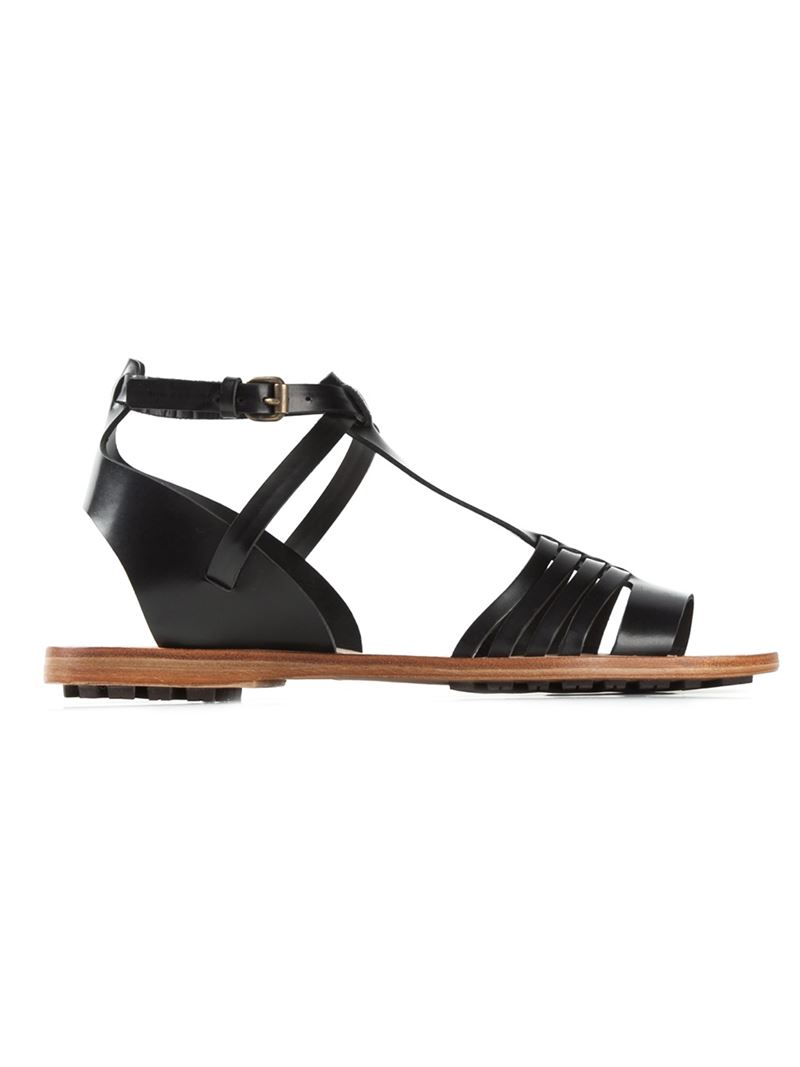 f9071a1f1aa30 Lyst - Buttero Strappy Flat Sandals in Black