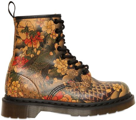 Dr Martens 20mm Core Koi Printed Leather Boots In