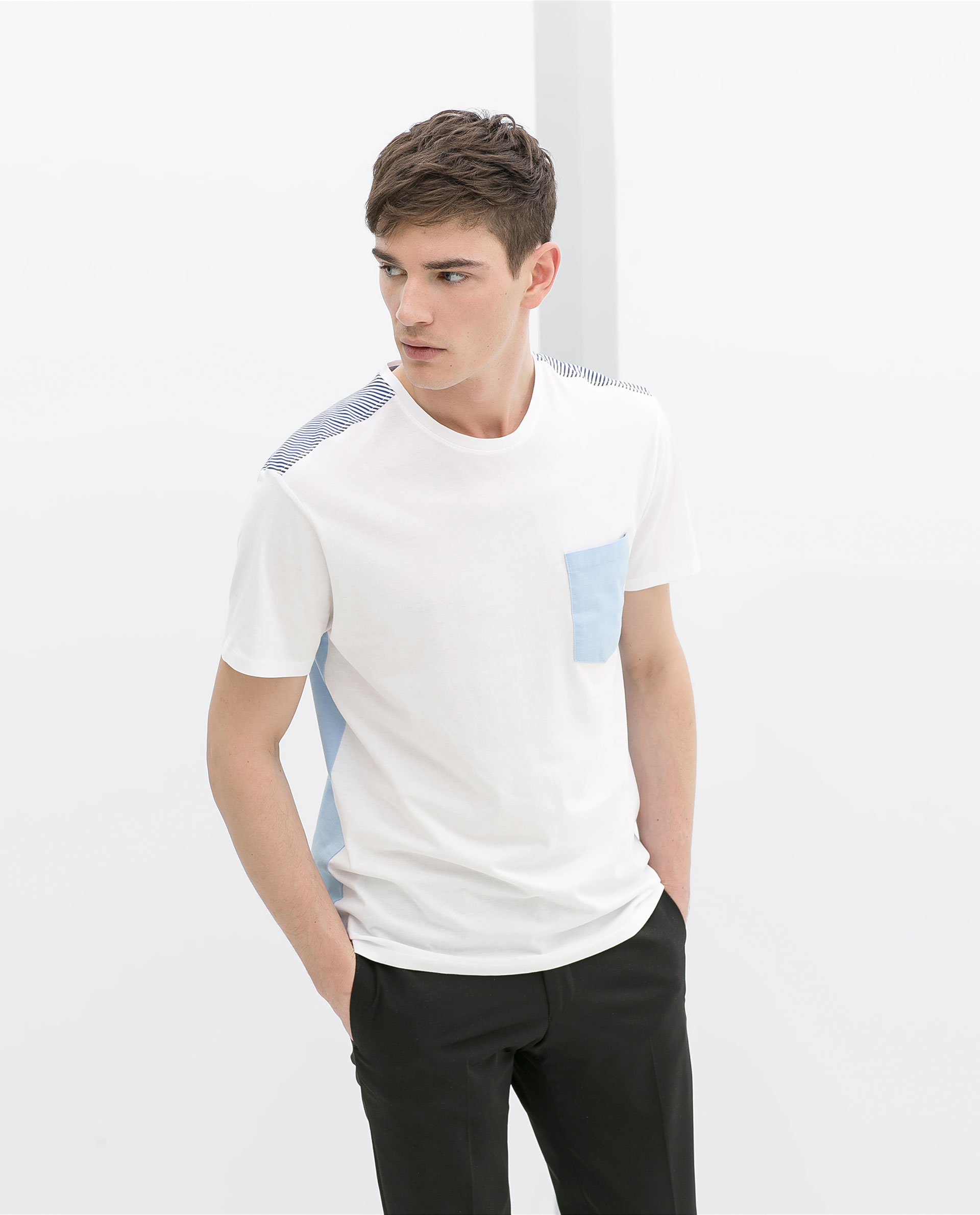 Zara tshirt with shirt back in white for men lyst for Zara mens shirts sale