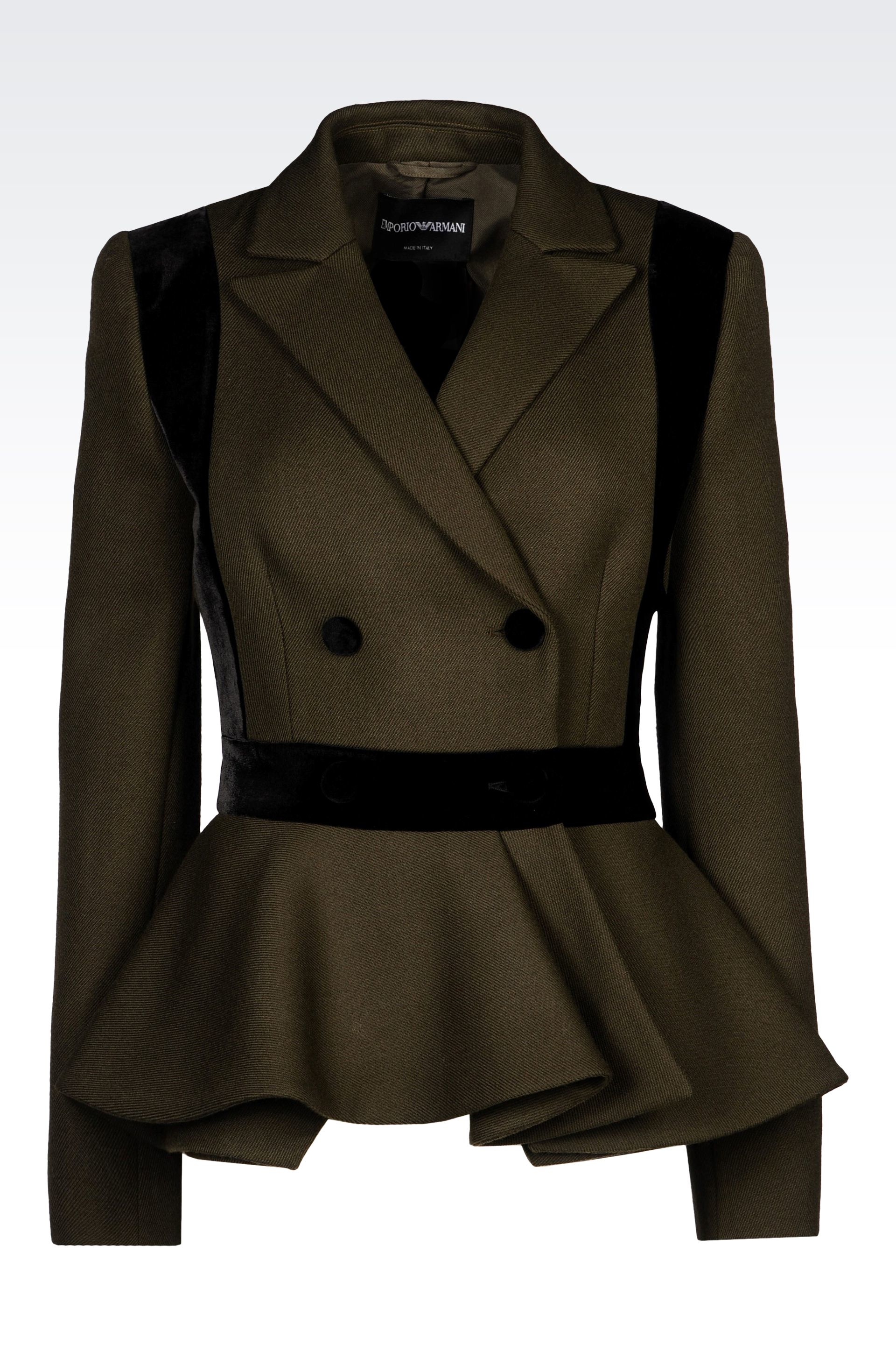 Emporio Armani Double Breasted Jacket In Wool Twill In