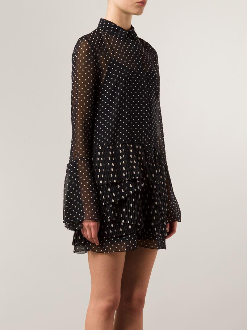 Lyst Thakoon Layered Polka Dot Shirt Dress In Black