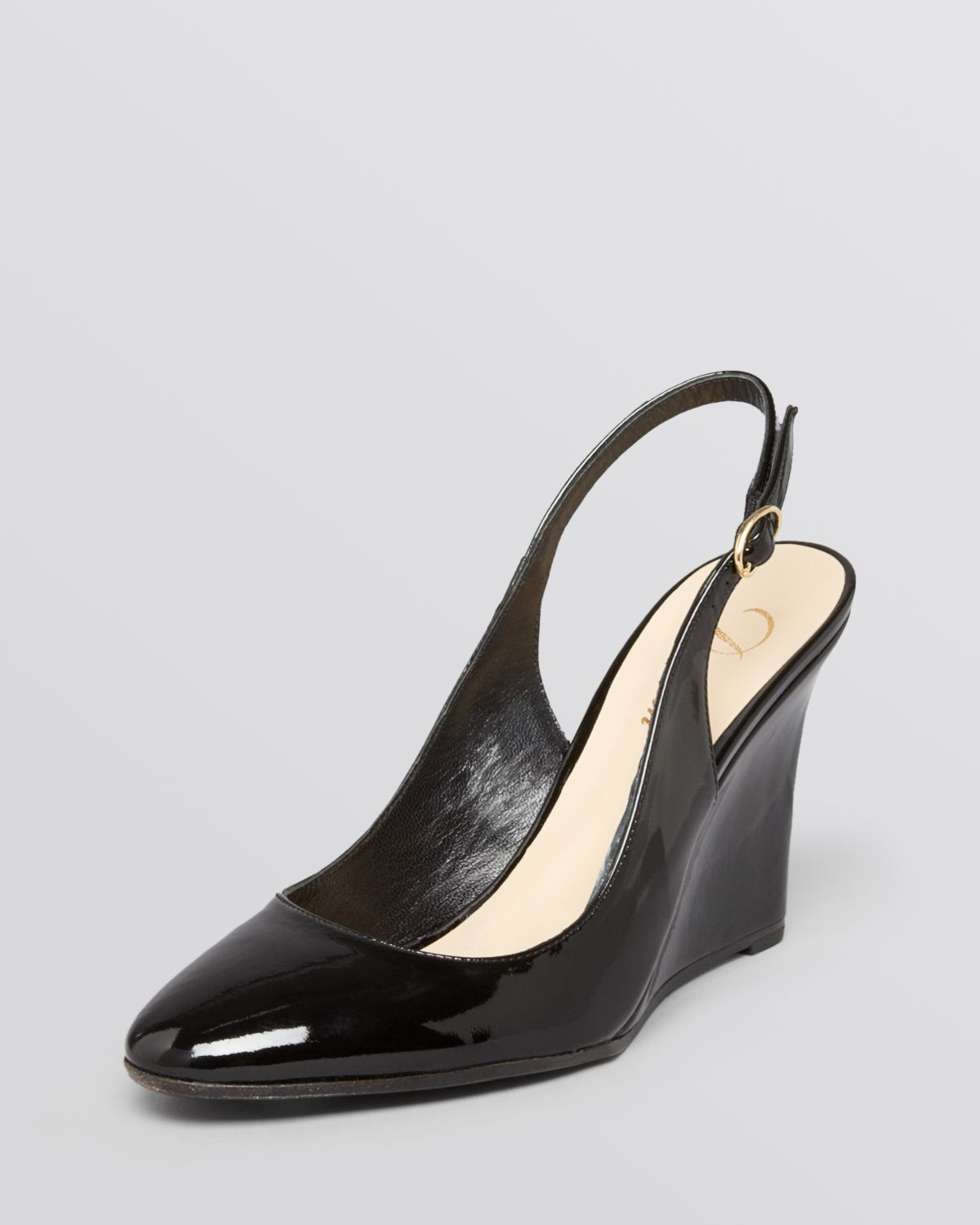 Lyst Delman Slingback Wedge Pumps Rosa In Black