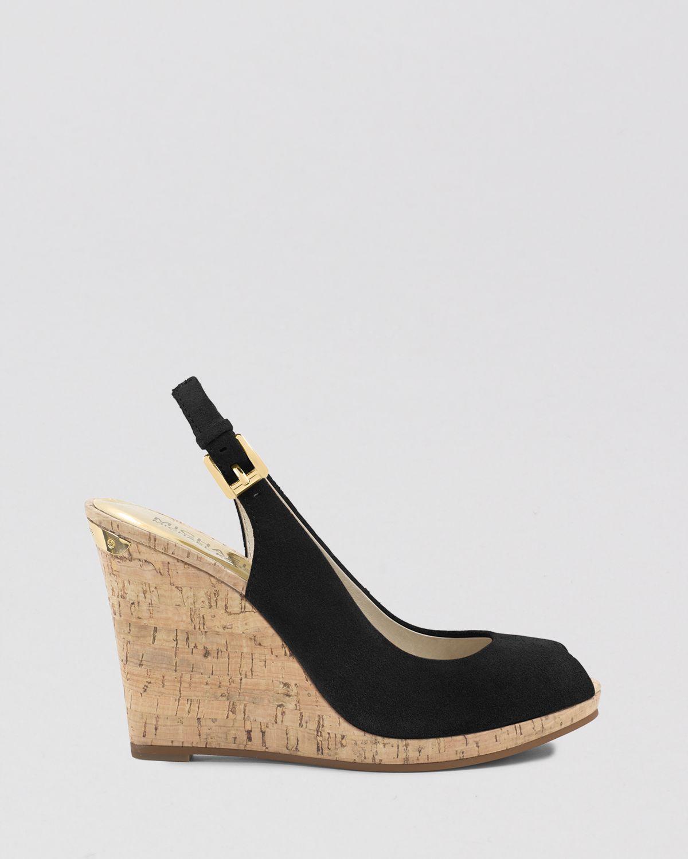 779e1991e30 MICHAEL Michael Kors Black Peep Toe Platform Wedge Sandals Keegan Slingback
