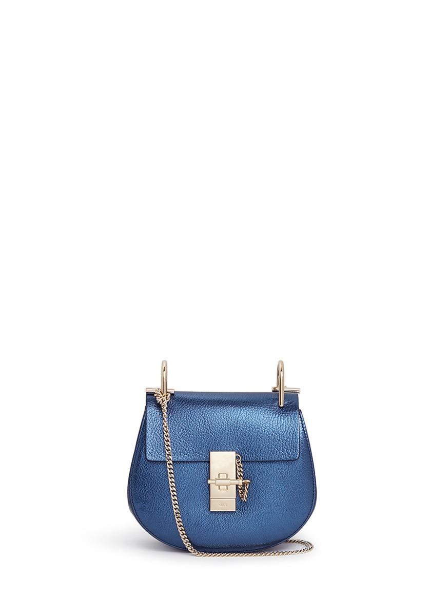 chloe handbags replica uk - Chlo�� Drew Metallic Leather Shoulder Bag in Blue (Blue,Metallic ...