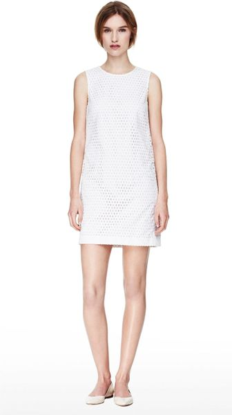 Theory Shift Dress In Eyelet Cotton In White Lyst