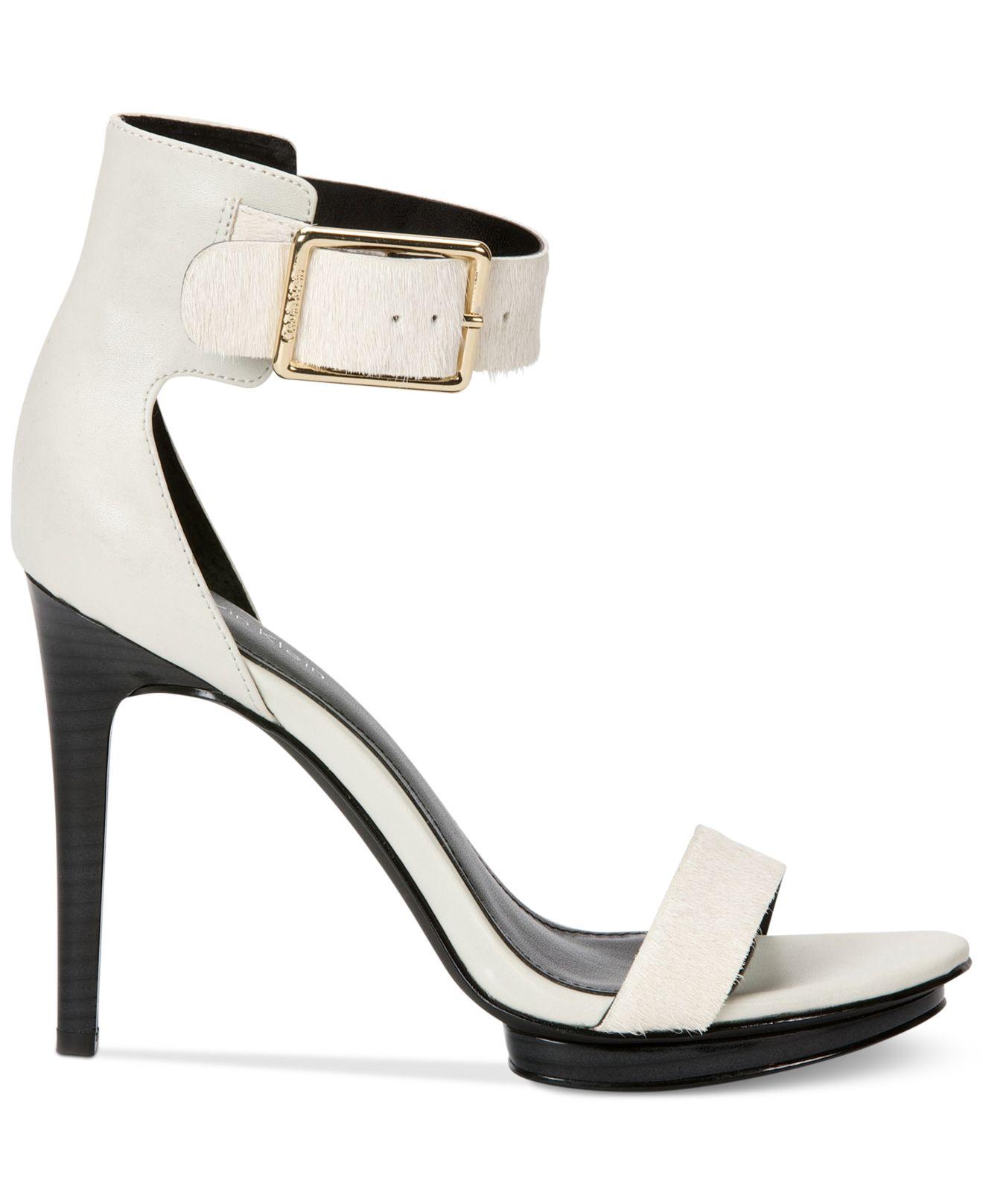 88971aff03da Lyst - Calvin Klein Women S Vivian High Heel Sandals in White