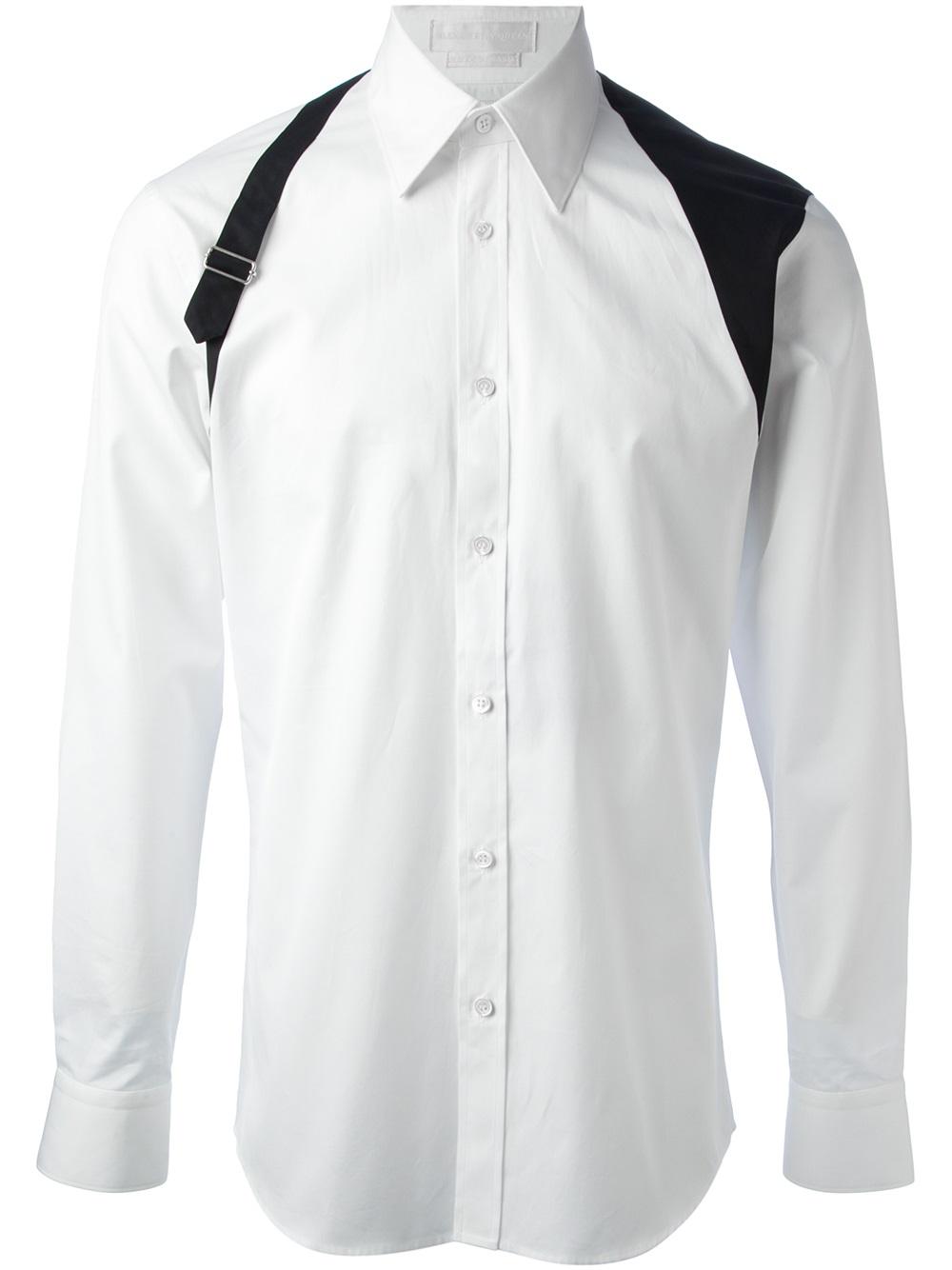Lyst alexander mcqueen harness detail shirt in white for men for Alexander mcqueen shirt men