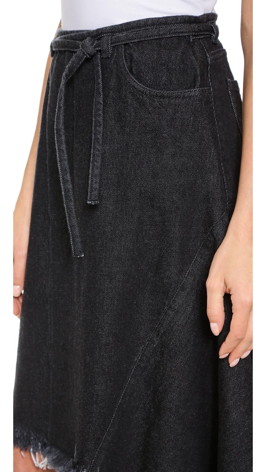 Marques'almeida Denim Wrap Skirt With Frayed Hem - Black/white in ...