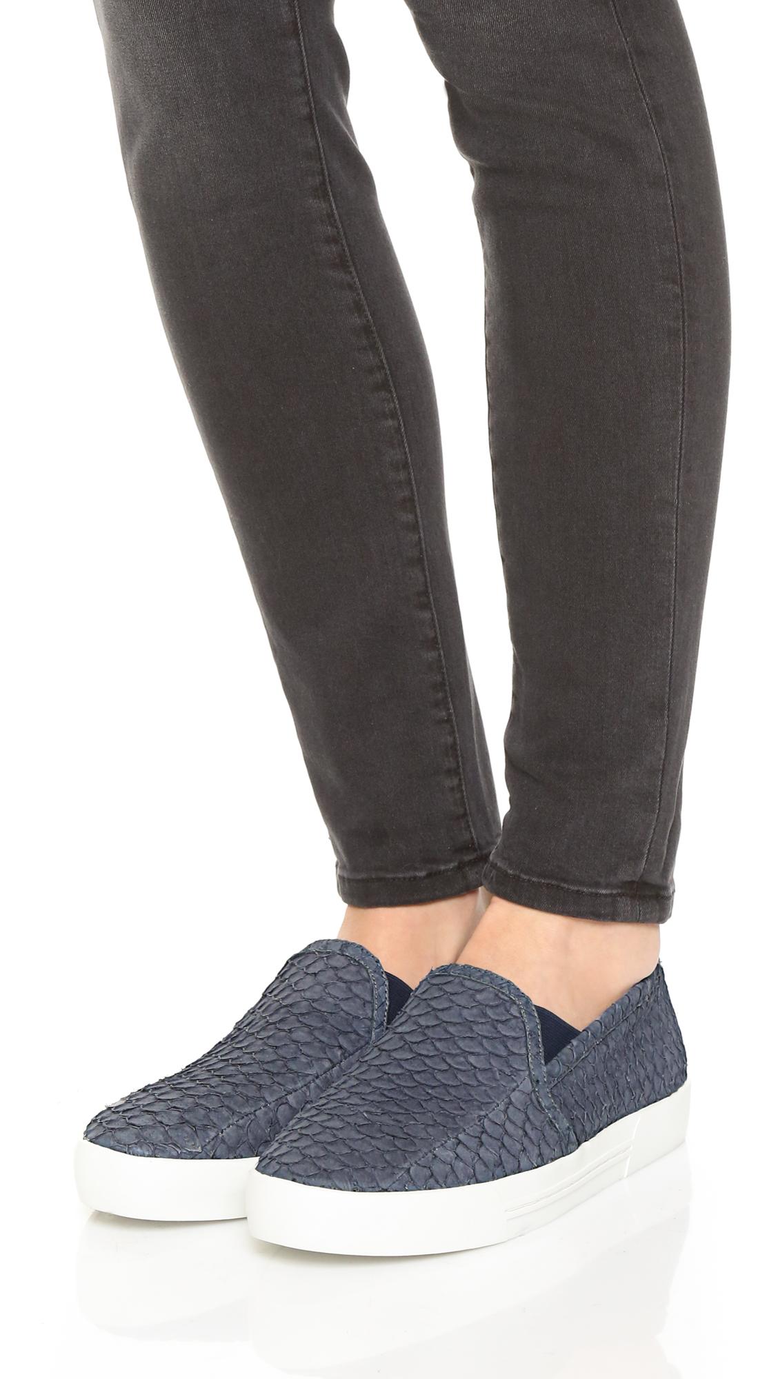 Joie Denim Huxley Slip On Sneakers in Dark Denim (Blue)