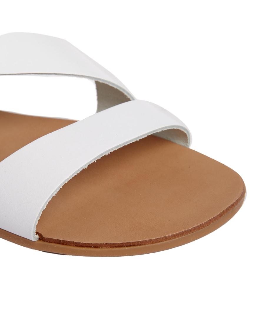 ALDO White Leather Asymmetric Flat