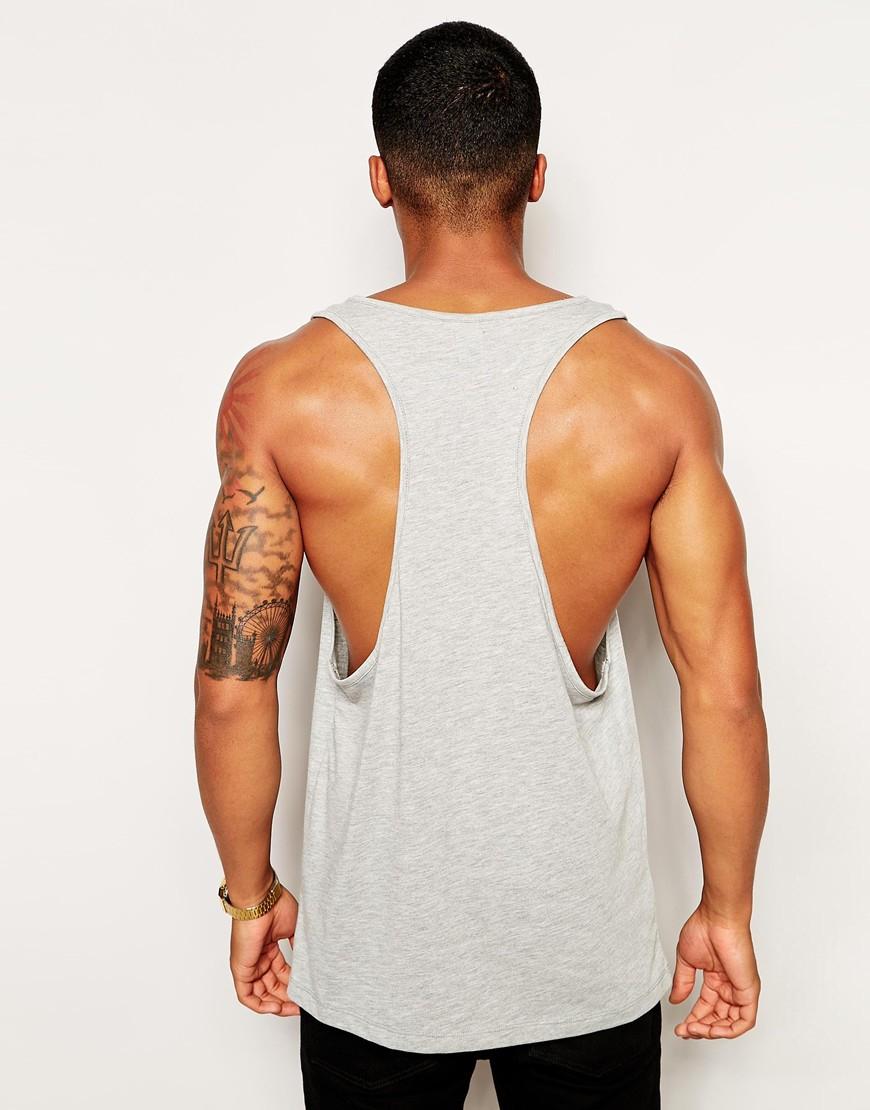 mens plain gym vest tee bodybuilding muscle stringer racerback tank top t shirt.