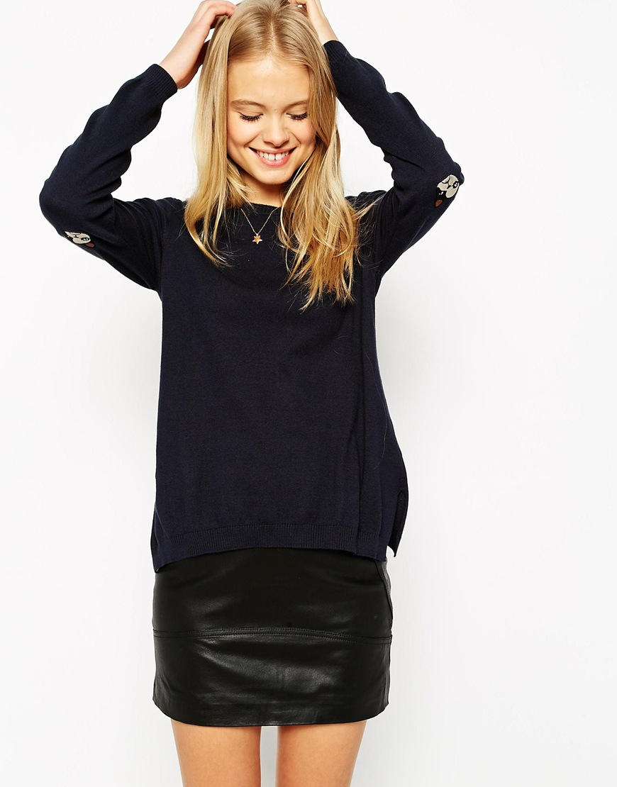 Lyst Asos Sweater With Pug Dog Elbow Patch In Blue