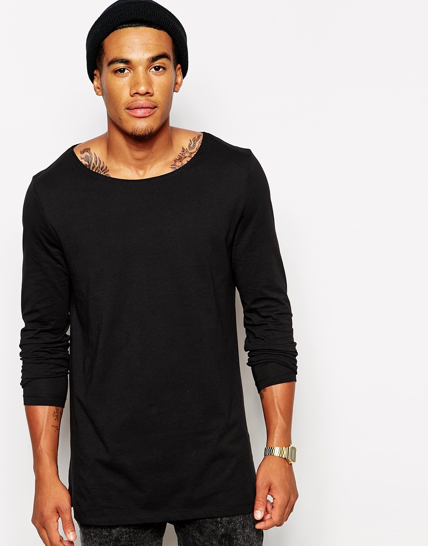 Lyst Asos Long Sleeve T Shirt With Boat Neck In Longline