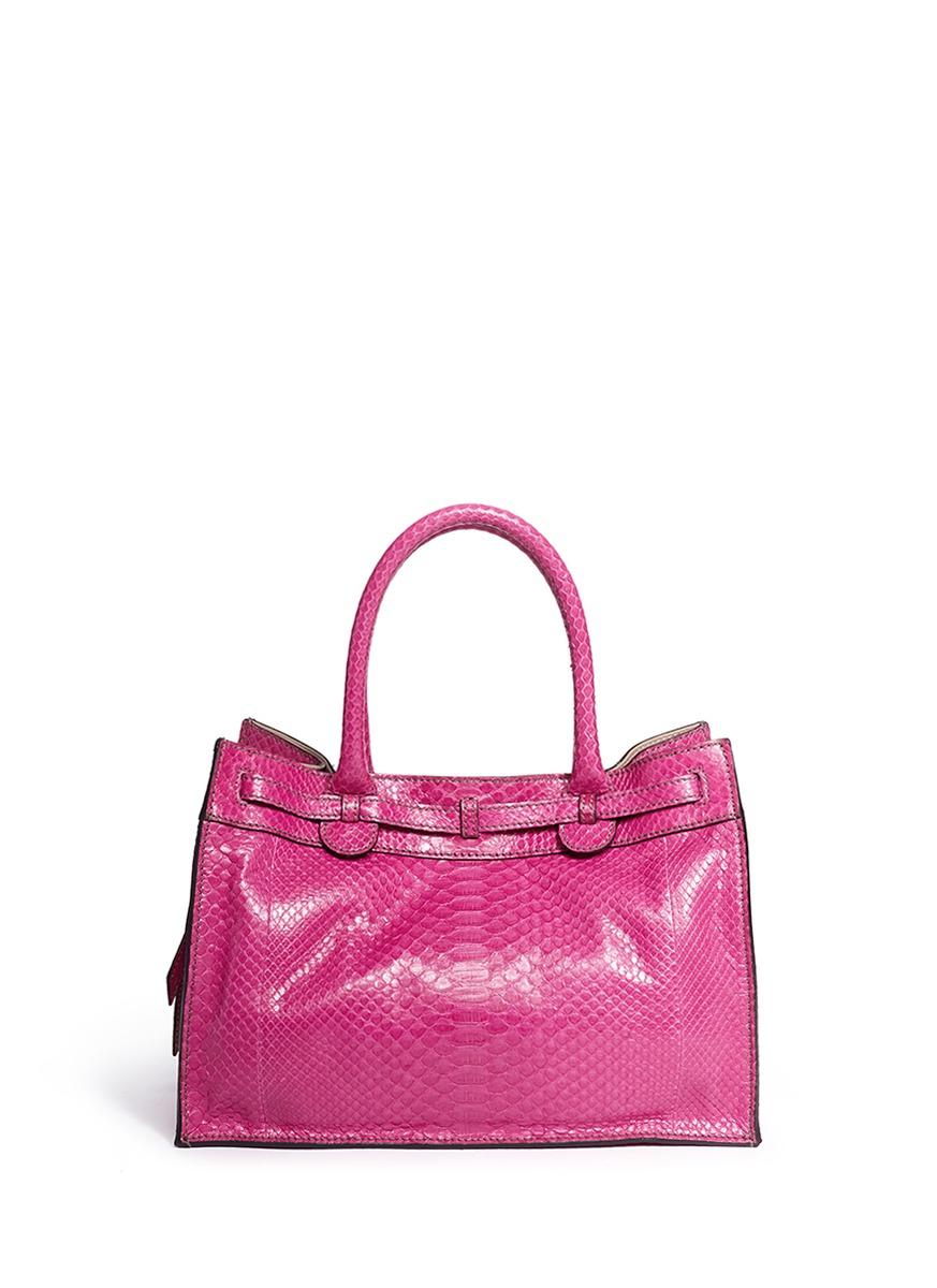 Zagliani 'gatsby' Small Shiny Python Tote in Pink