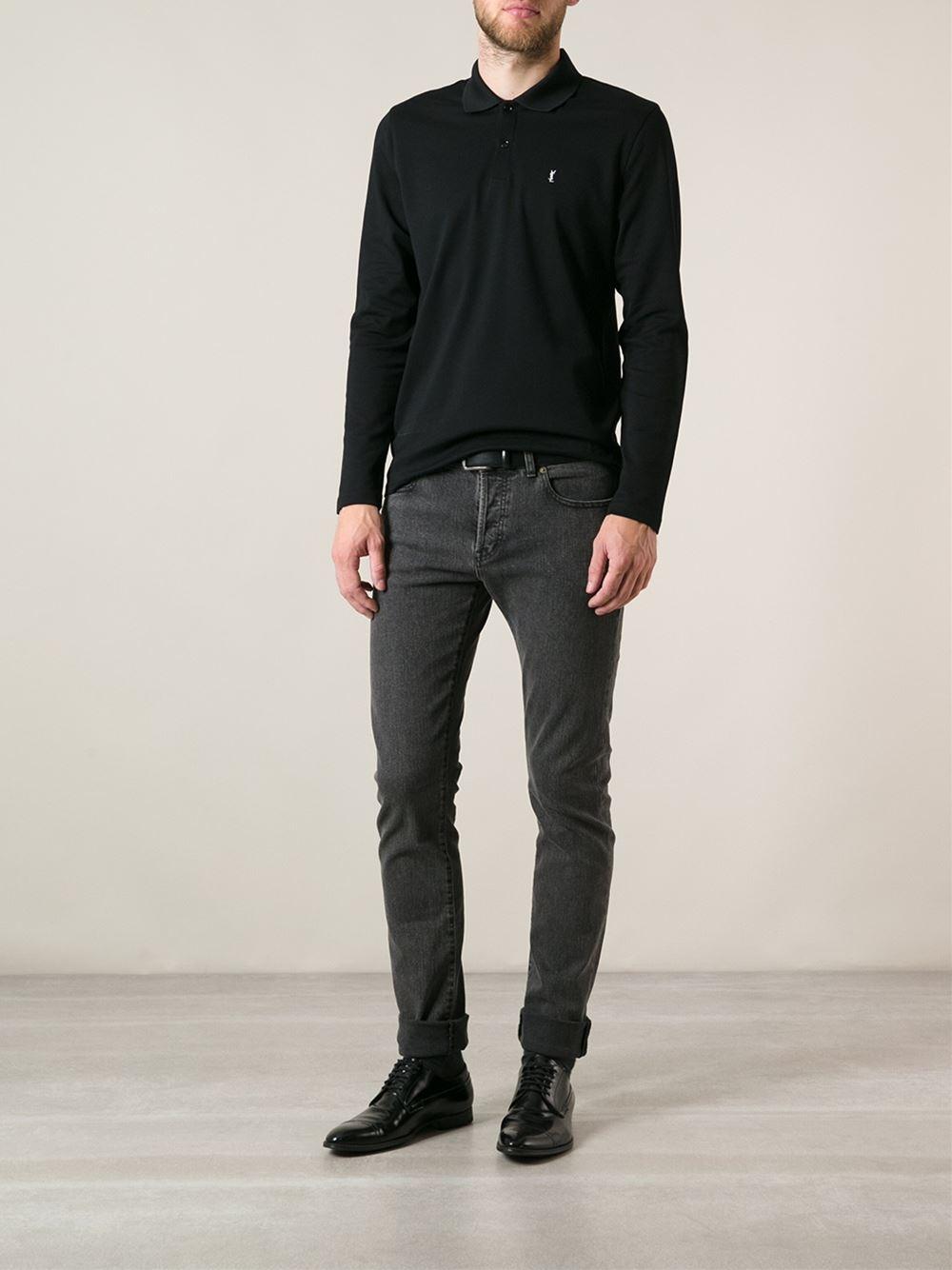0b19aca8 ... good lyst saint laurent long sleeve polo shirt in black for men 2f975  27acd