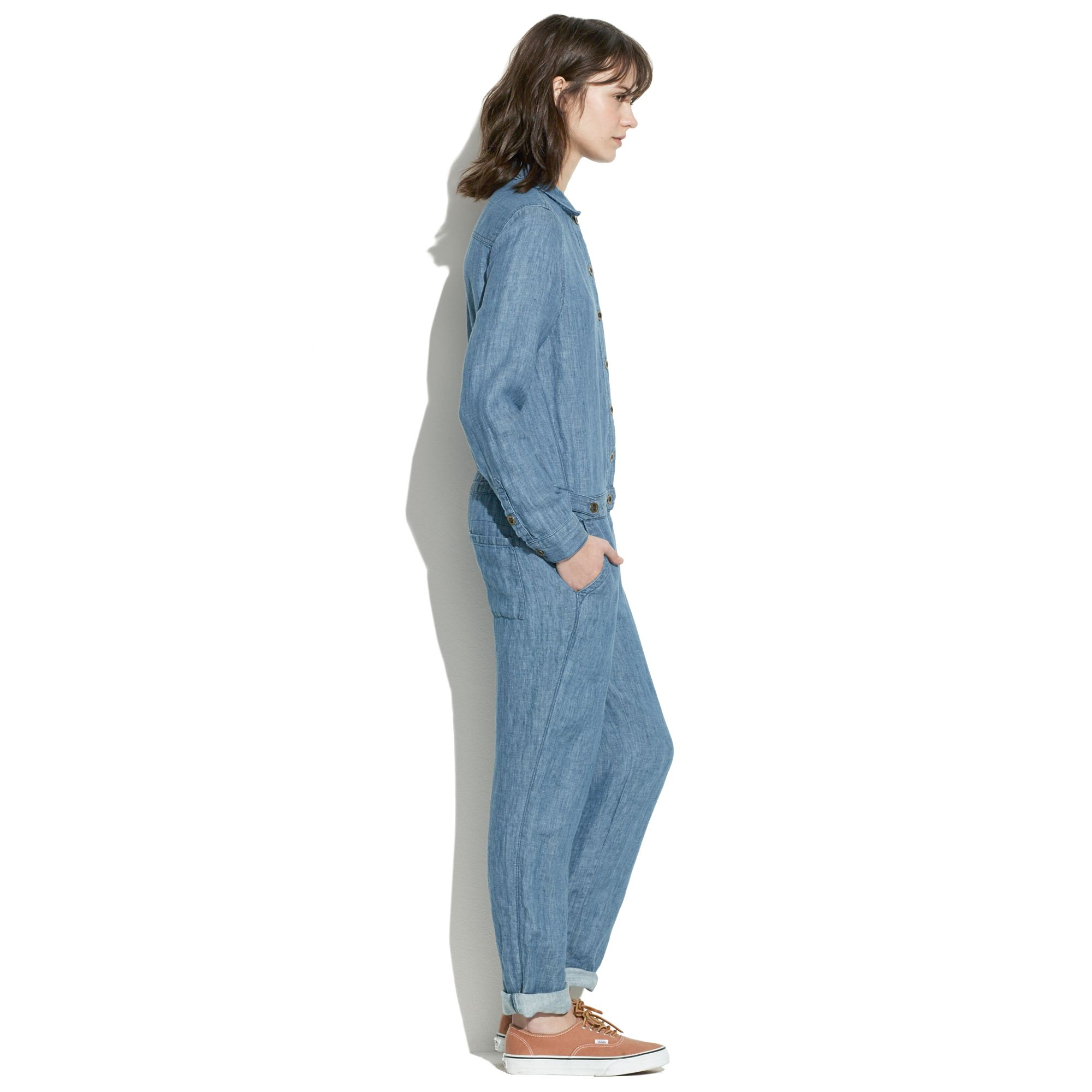 5817de955f0f Lyst - Madewell Chambray Machinist Jumpsuit in Blue
