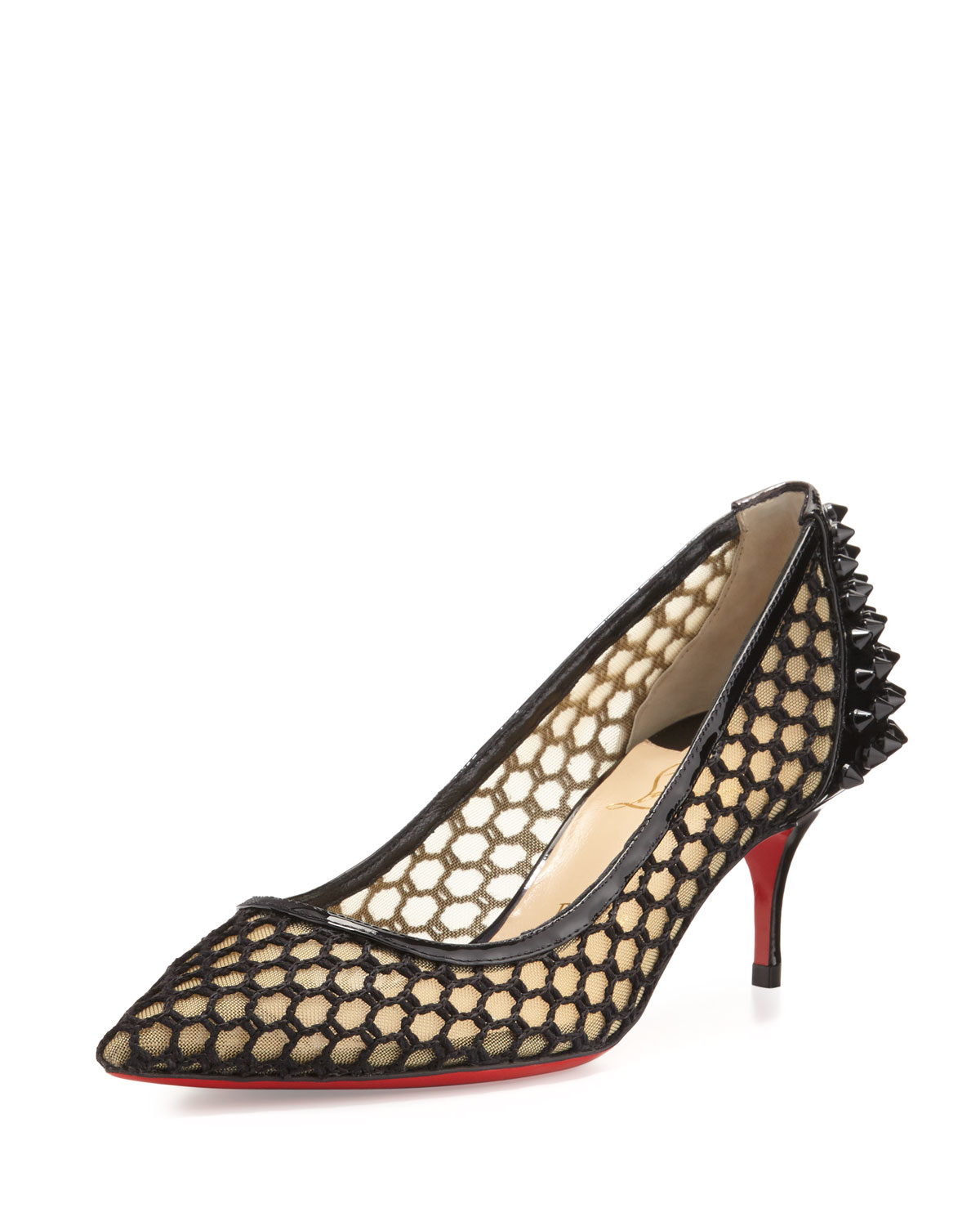 new product 34cb6 01940 Christian Louboutin Natural Guni Mesh Spike 55mm Red Sole Pump