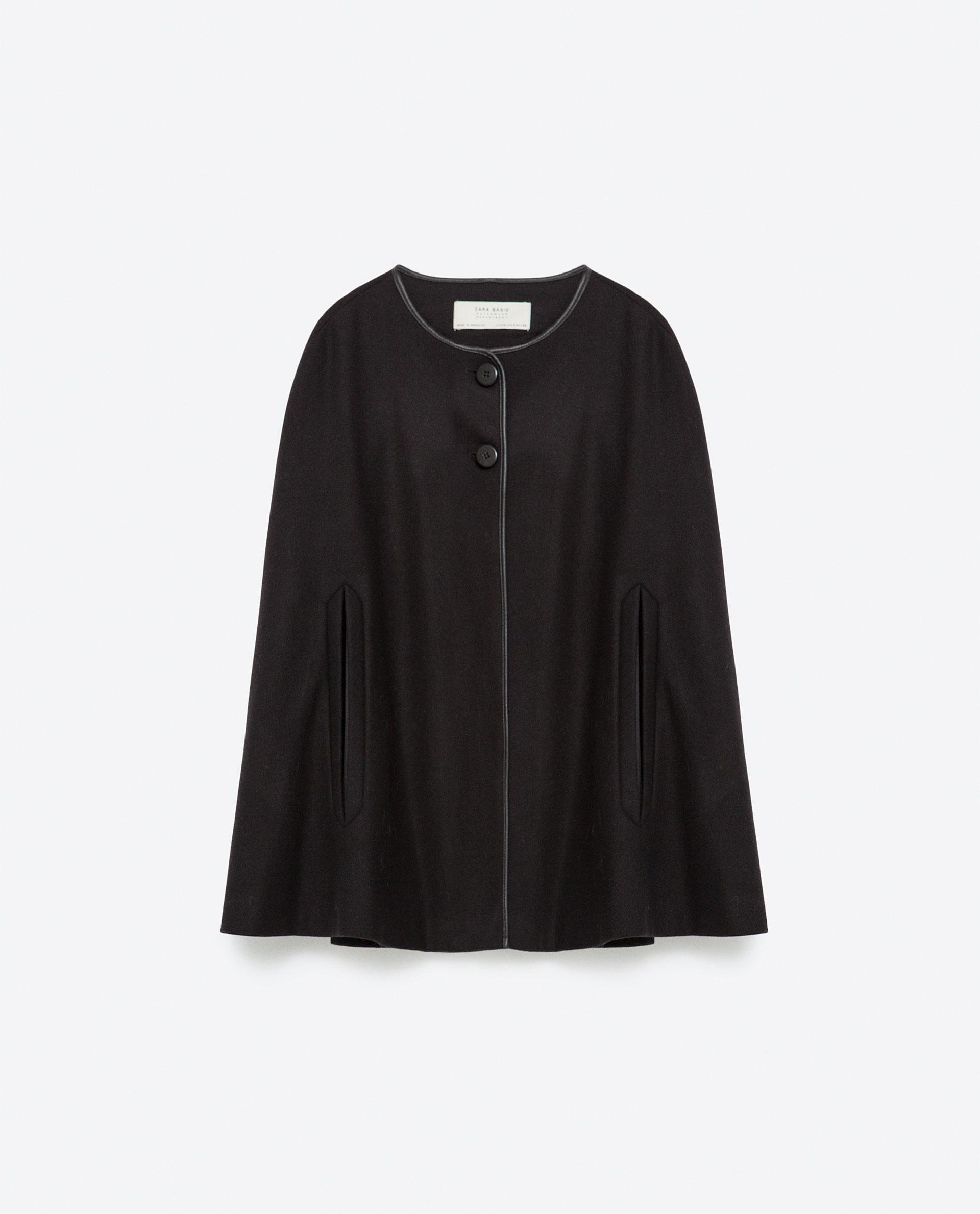 zara wool cape in black lyst. Black Bedroom Furniture Sets. Home Design Ideas