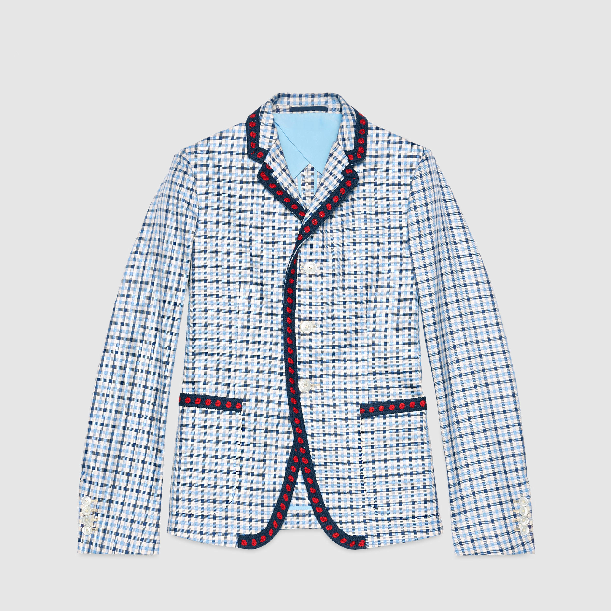 9a54ef66b Gucci Iris Check Cotton Twill Jacket in Blue for Men - Lyst