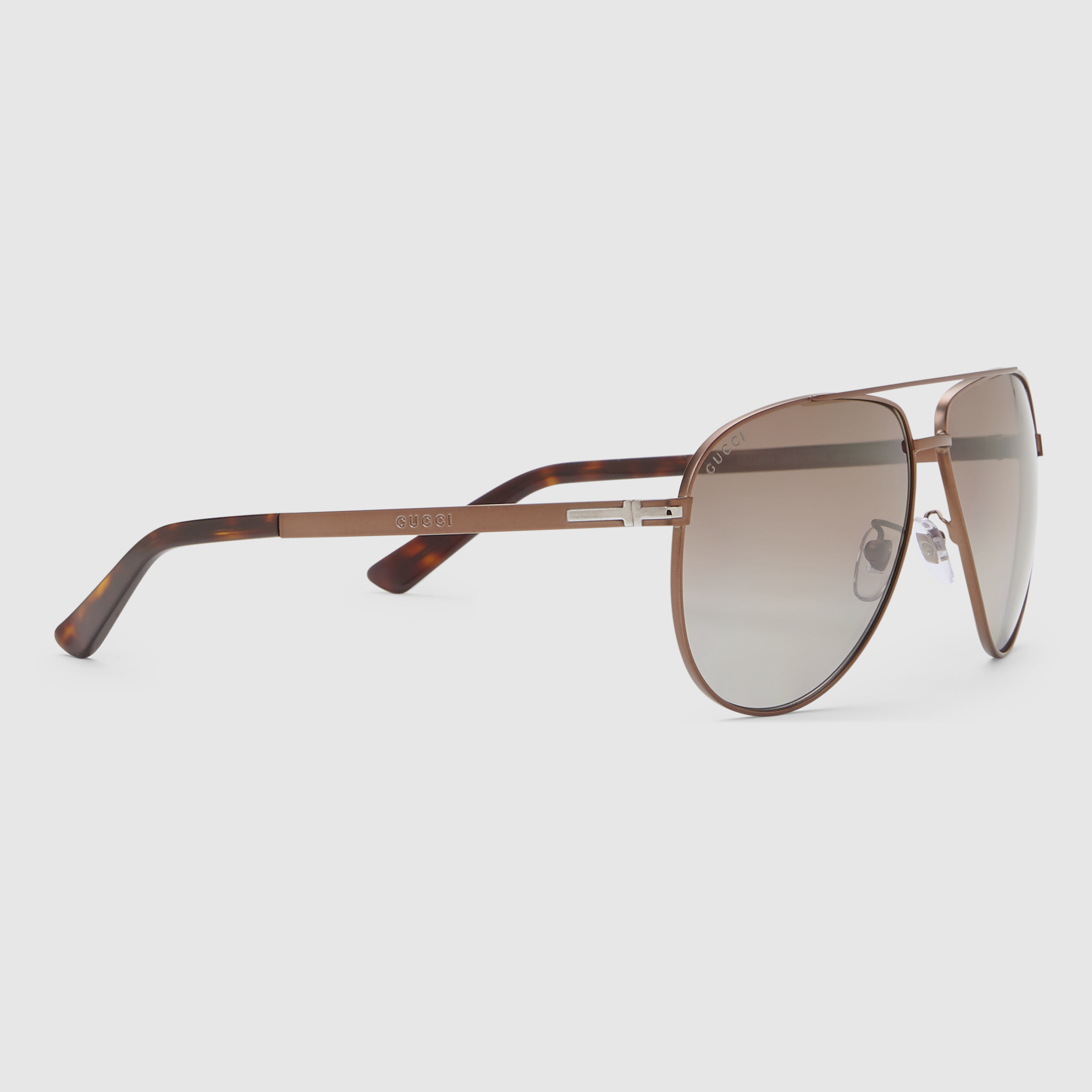 f9e28ab46b Lyst - Gucci Aviator Metal Sunglasses With T-bar in Brown for Men