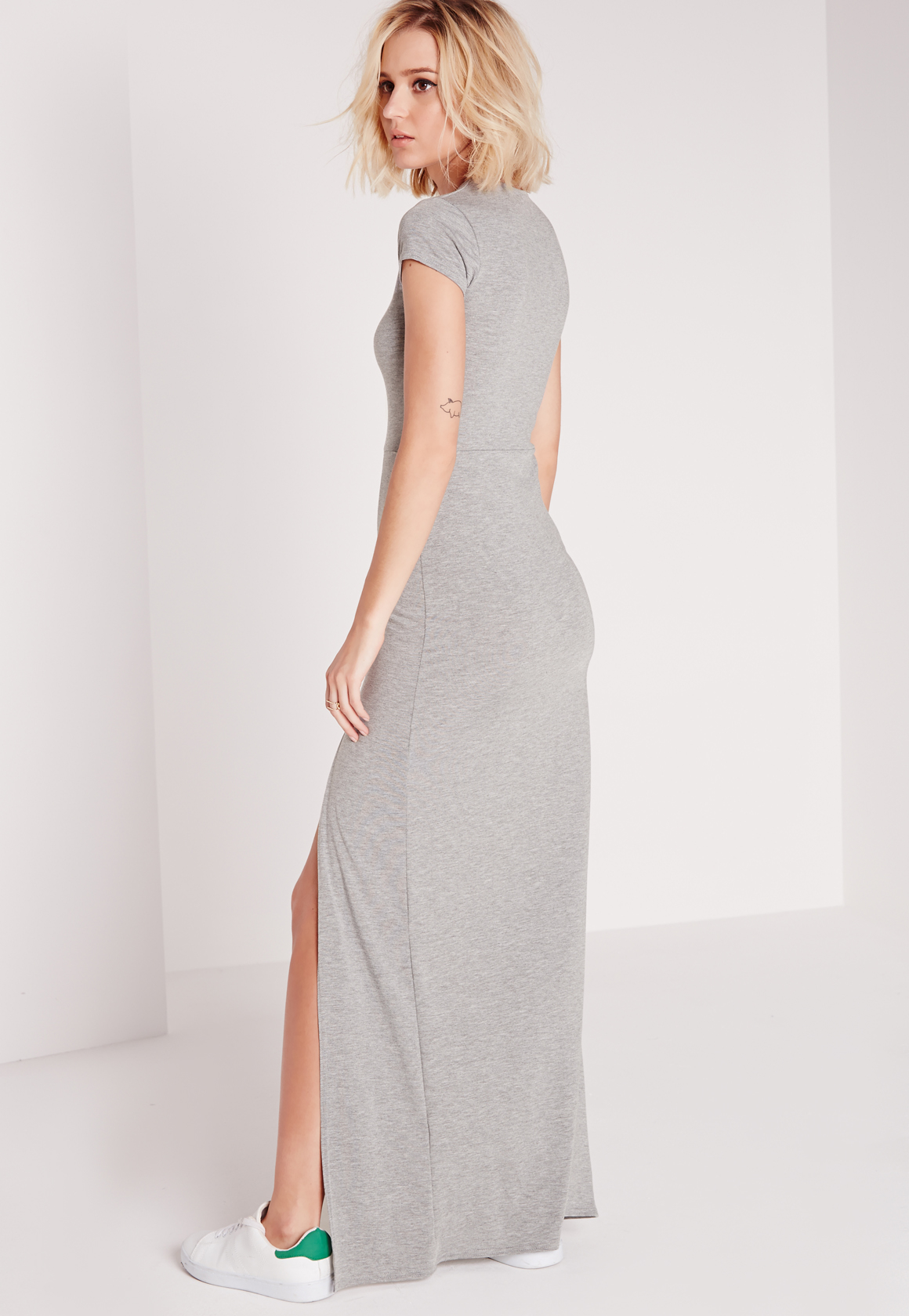 missguided split front t shirt maxi dress grey marl in With robe tee shirt longue