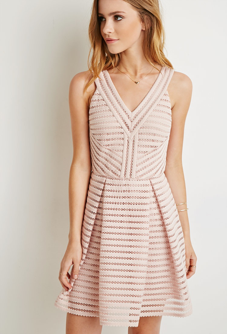57683655de Forever 21 Textured Fit   Flare Dress in Pink - Lyst