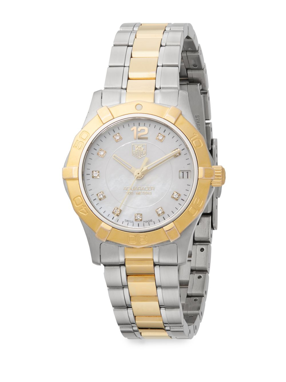 Second Hand Tag Watches >> Lyst - Tag Heuer Aquaracer Diamond Two-Tone Stainless Steel & 18K Yellow Gold-Plated Bracelet ...