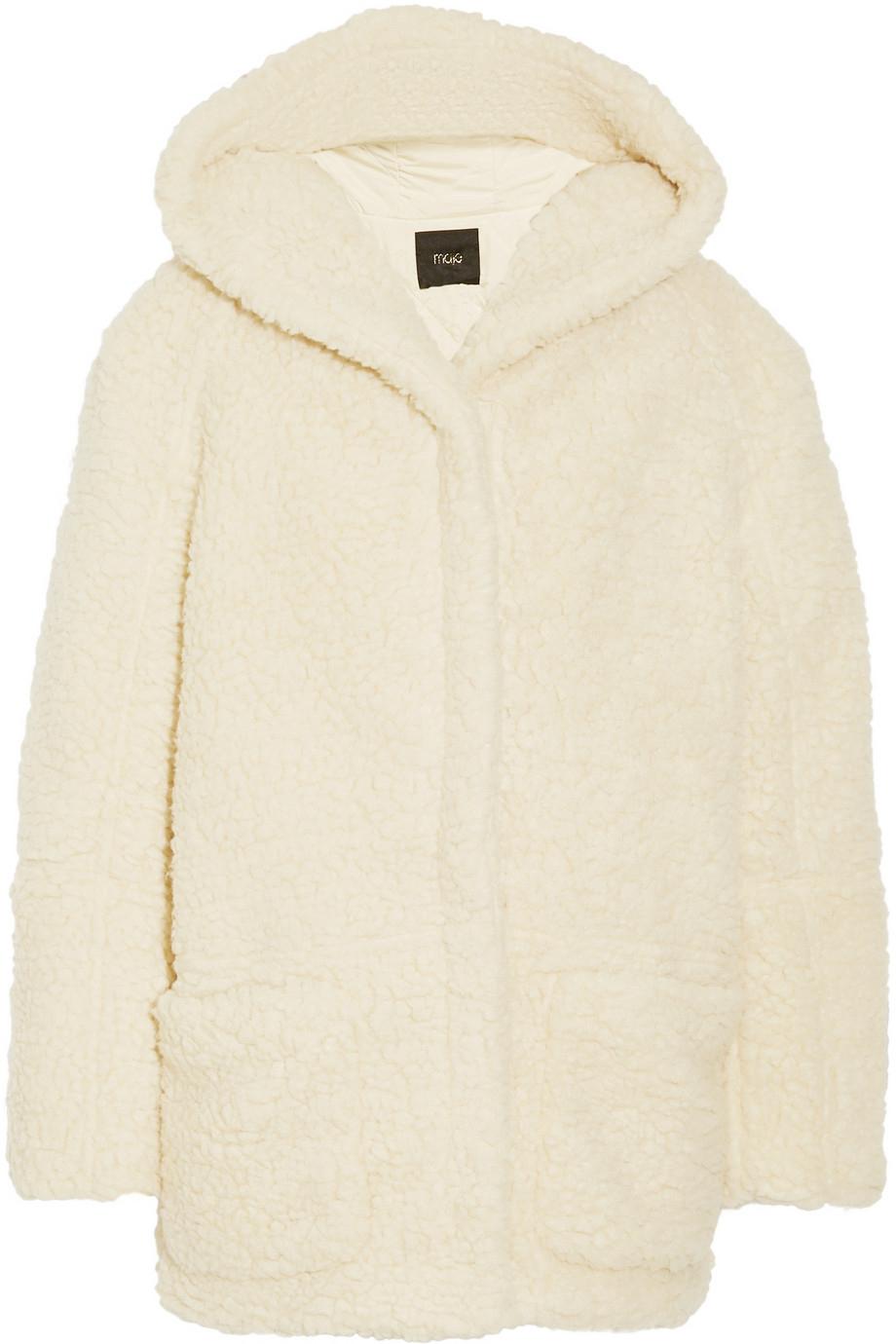 Maje Girofard Hooded Faux Shearling Coat in White | Lyst
