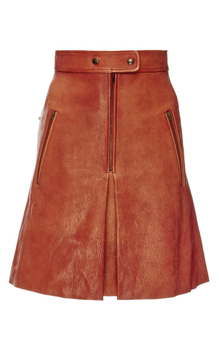 marant jilly stretch leather skirt in orange lyst