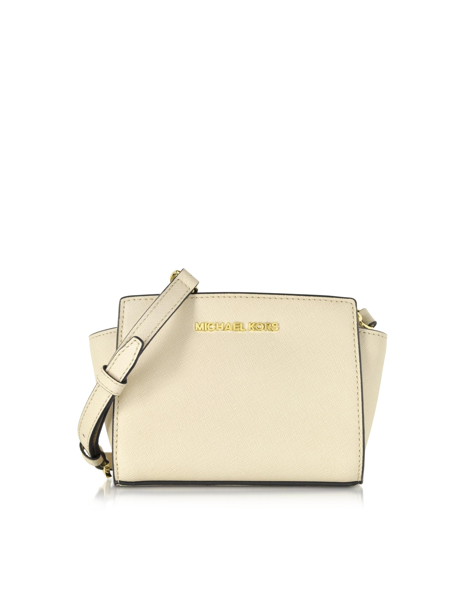 d3608622828c35 Michael Kors Ecru Saffiano Leather Selma Mini Messenger Bag in ...