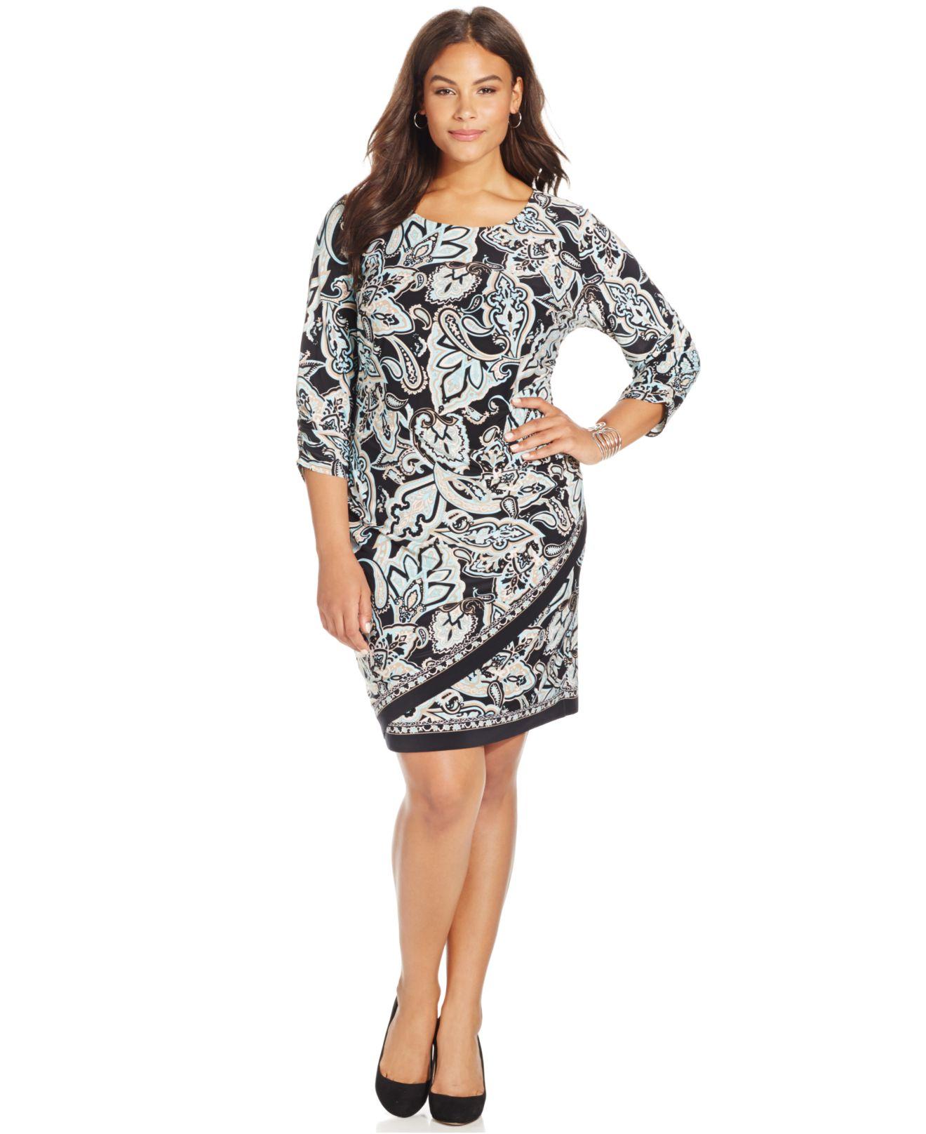 4b7931a64b3 Lyst - INC International Concepts Plus Size Printed Faux-wrap Dress ...