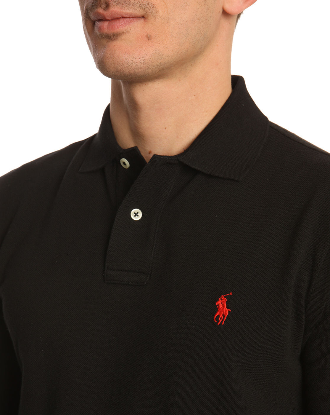 polo ralph lauren custom fit black polo shirt in black for men lyst. Black Bedroom Furniture Sets. Home Design Ideas