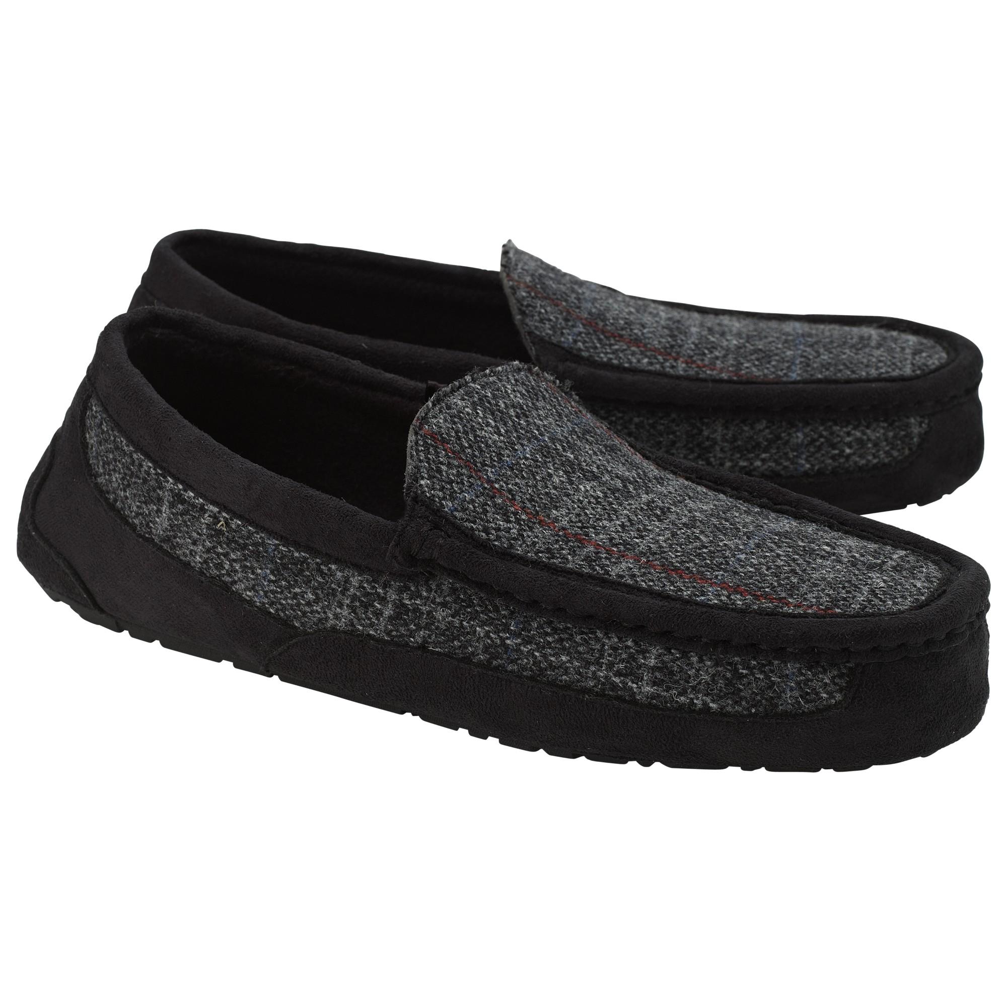John Lewis Harris Tweed Moccasin Slippers in Grey (Grey) for Men