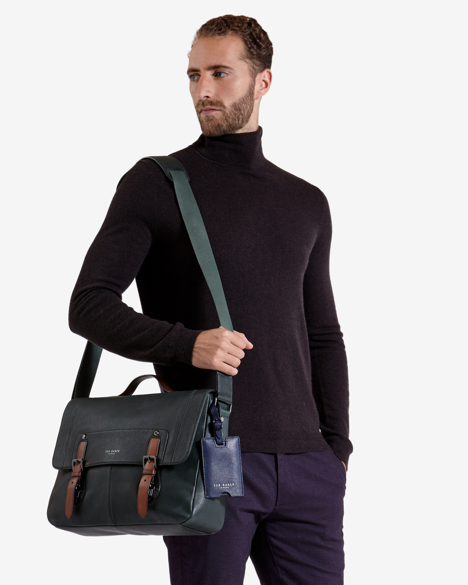 Lyst Ted Baker Color Block Leather Messenger Bag In
