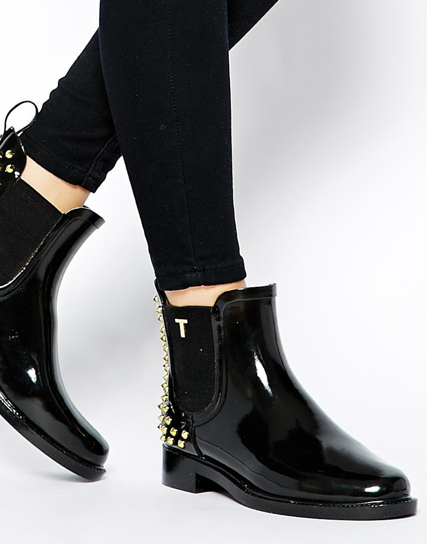 6de4c43fa3e362 Lyst - Ted Baker Liddied Studded Black Rubber Ankle Boots in Black