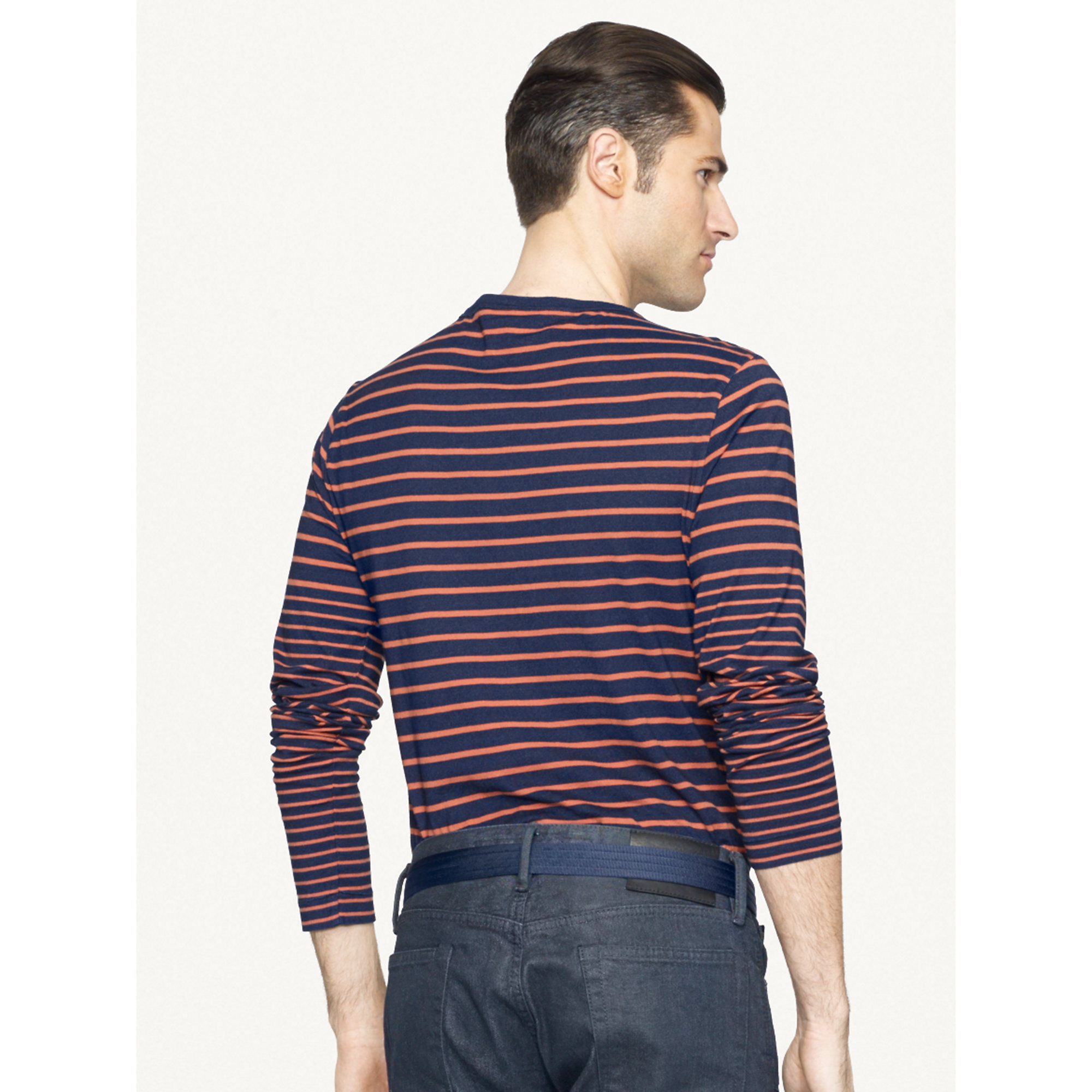 Ralph lauren black label striped long sleeved t shirt in for Black and blue long sleeve shirt
