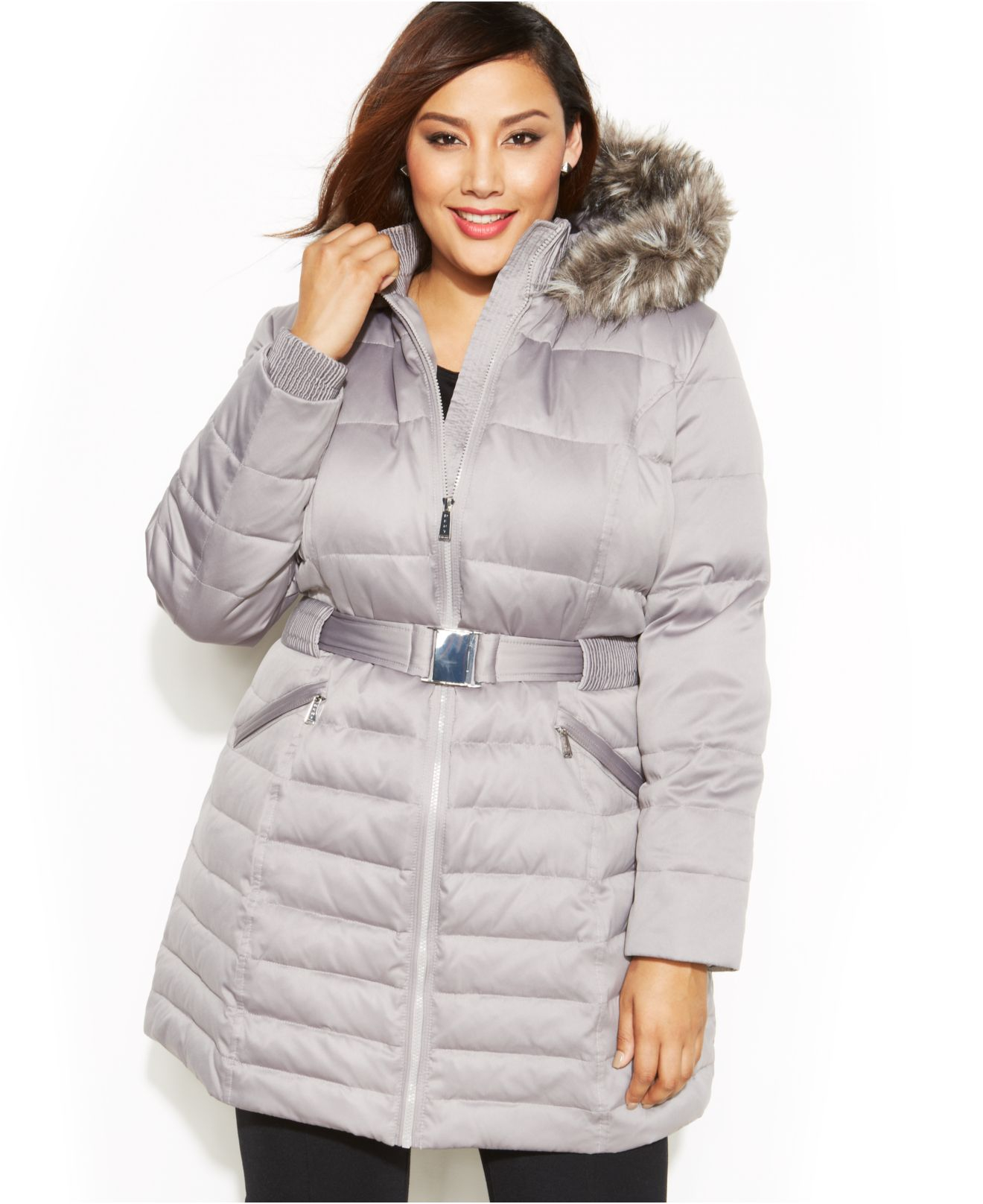 Lyst Dkny Plus Size Faux Fur Hooded Belted Down Coat In