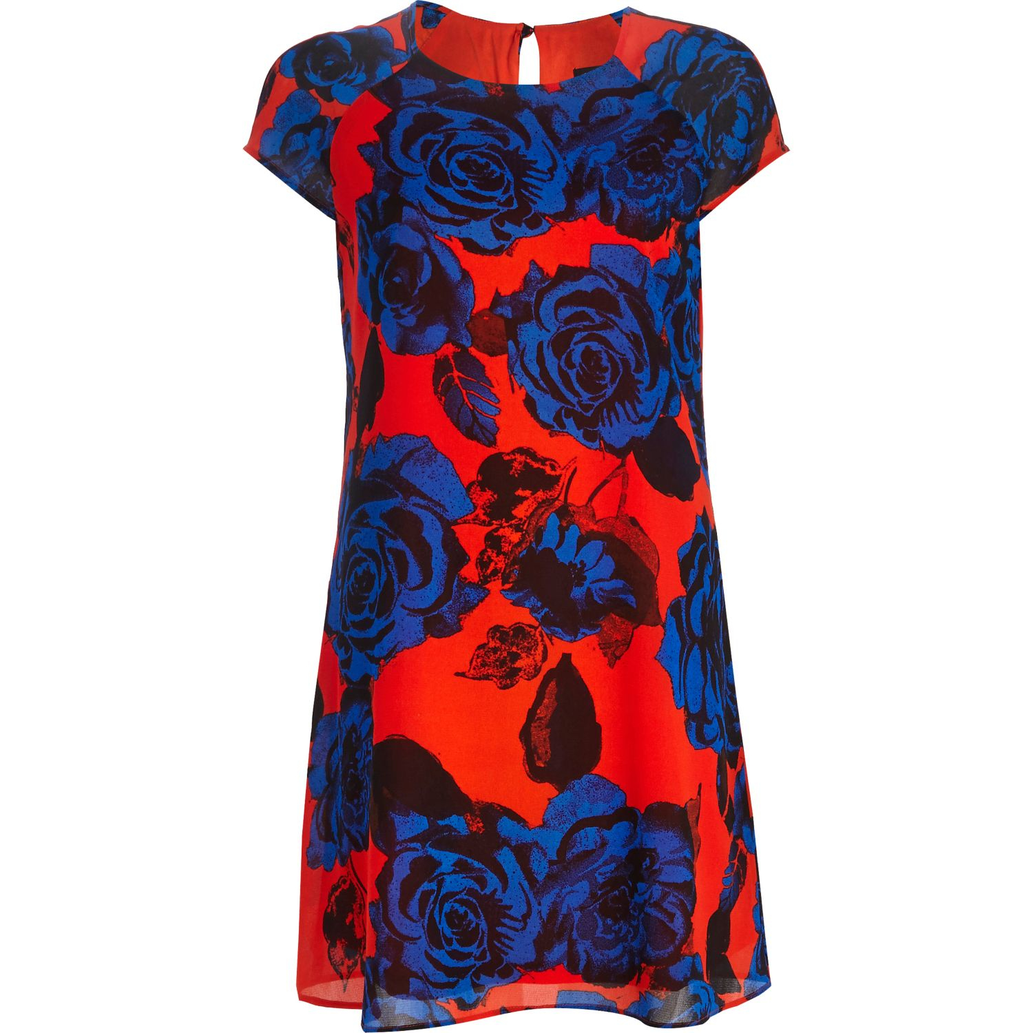 2963e862fa59 River Island Red Floral Print Swing Dress in Blue - Lyst