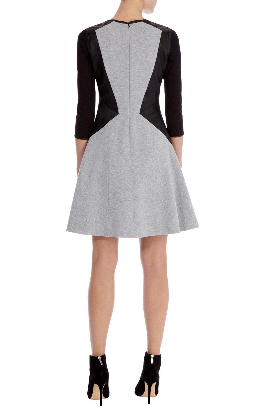 Karen Millen Contrast Faux Leather Dress In Black Lyst
