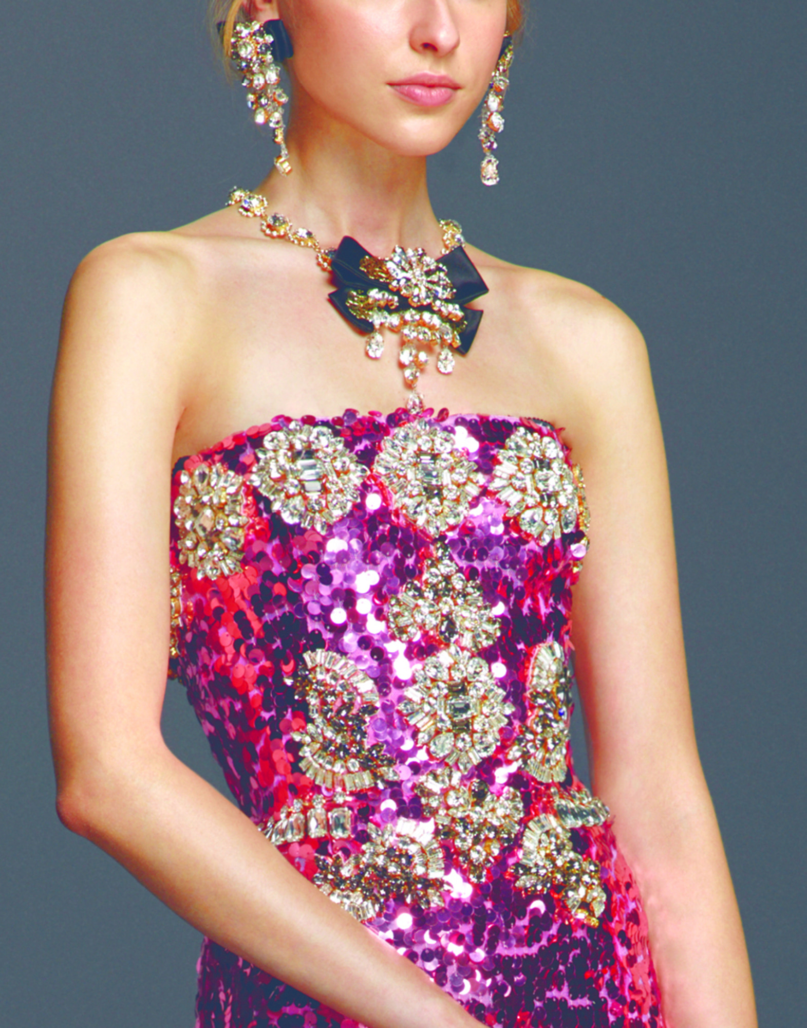 Lyst Dolce Gabbana Sequin Gown With Crystals And Jeweled Belt In