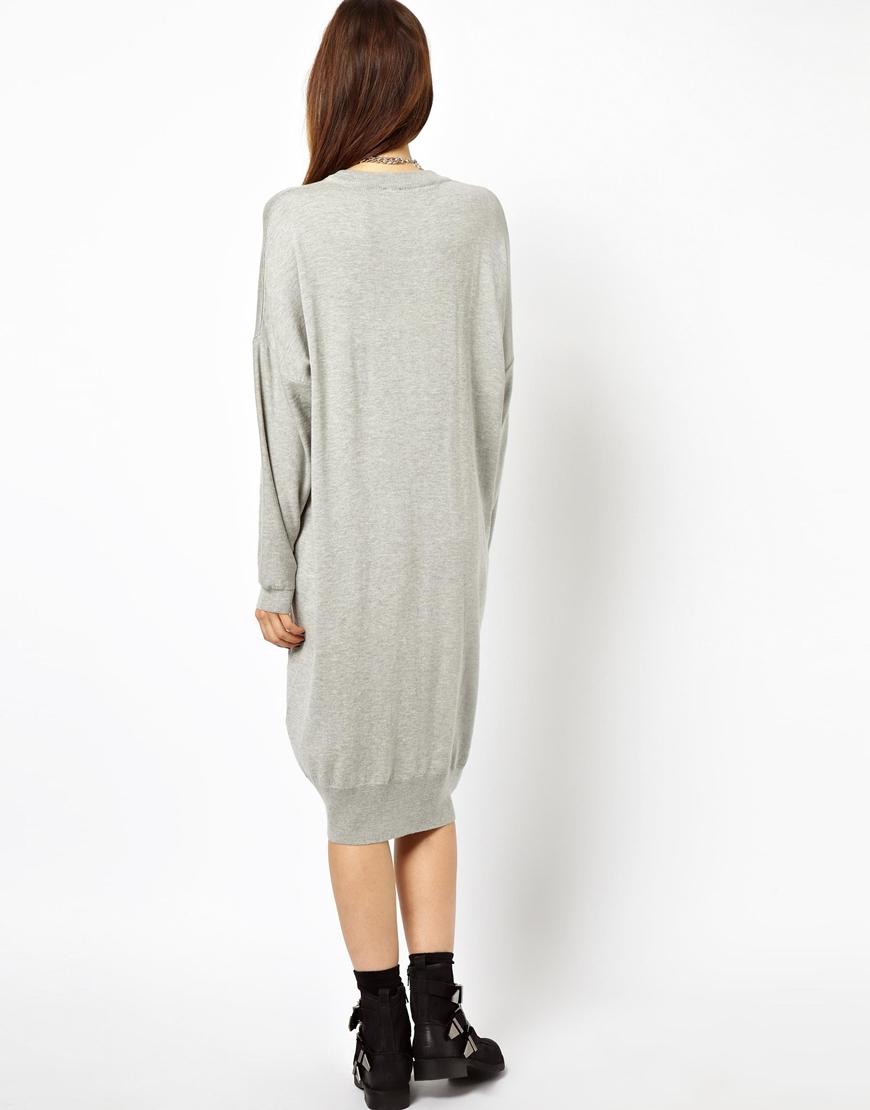 Asos Oversized Jumper Dress in Gray | Lyst