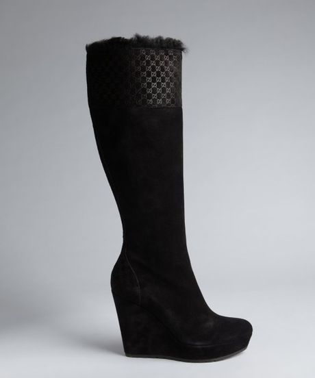gucci black embossed suede shearling lined wedge boots in