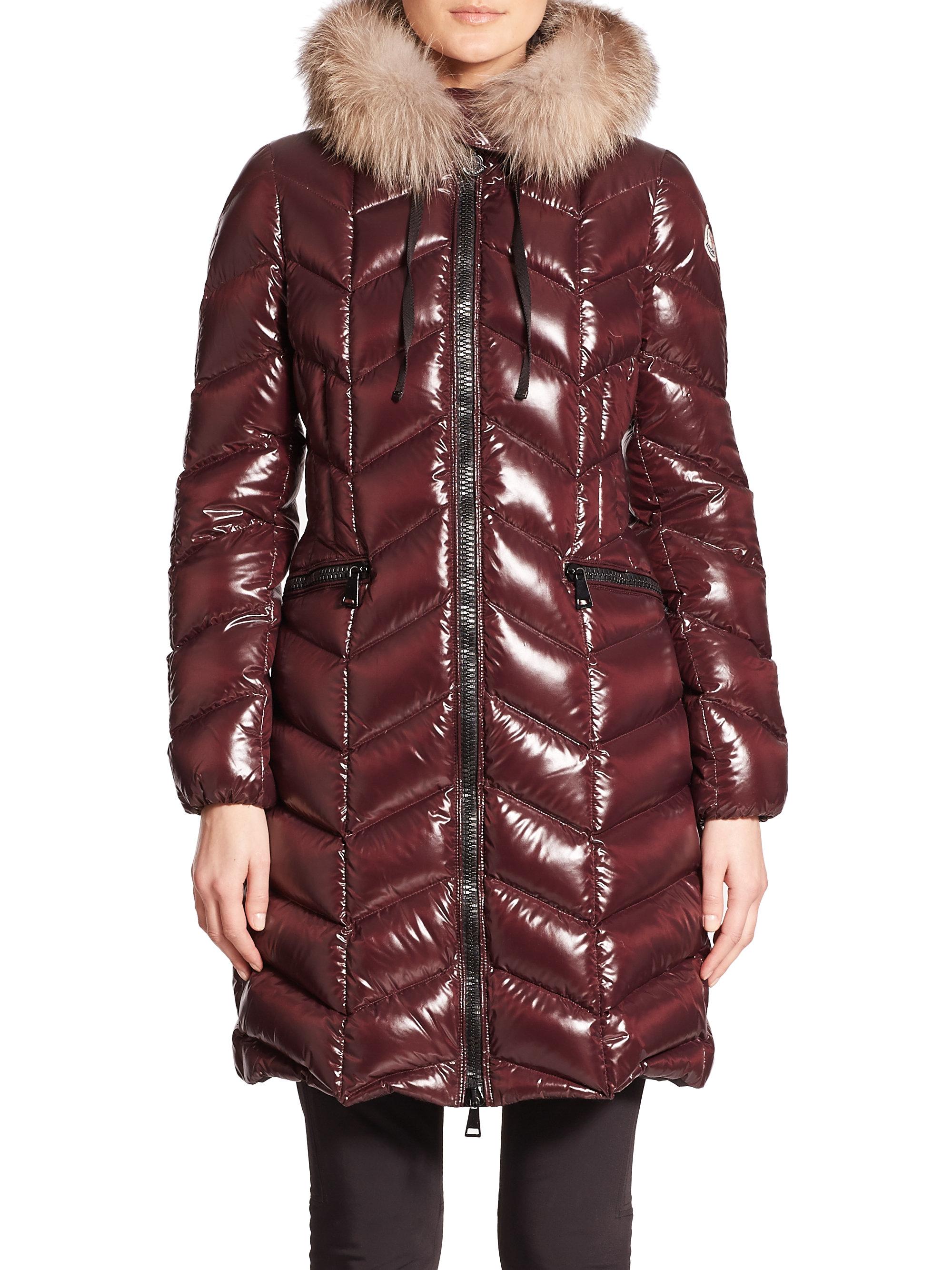 Lyst Moncler Bellette Fur Trimmed Jacket In Red