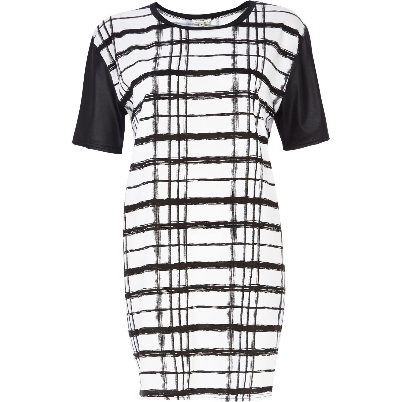 32164a955c04ff River Island Black and White Check Print Tshirt Dress in Black - Lyst